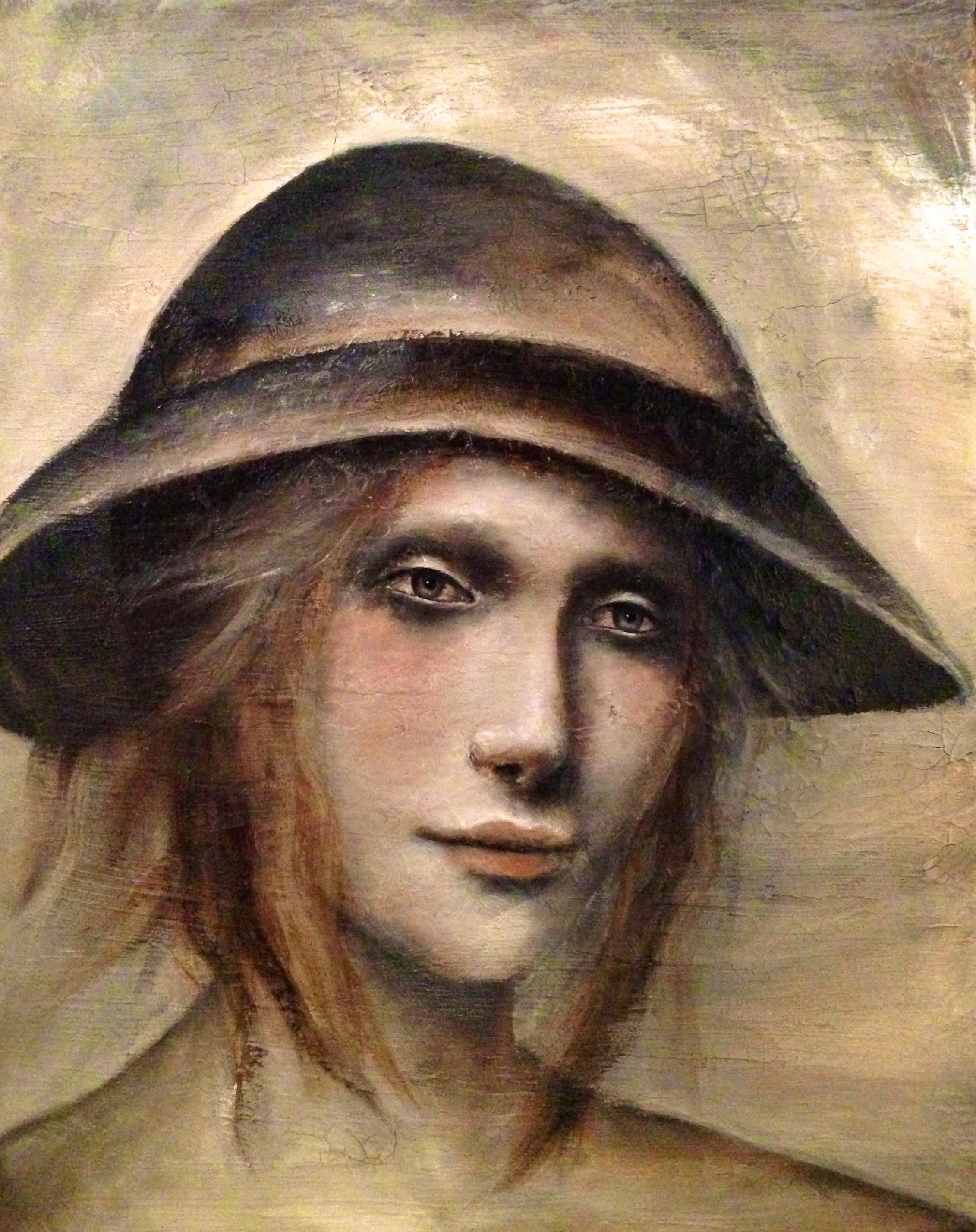 Just Her Hat, 2016   Mixed media on canvas