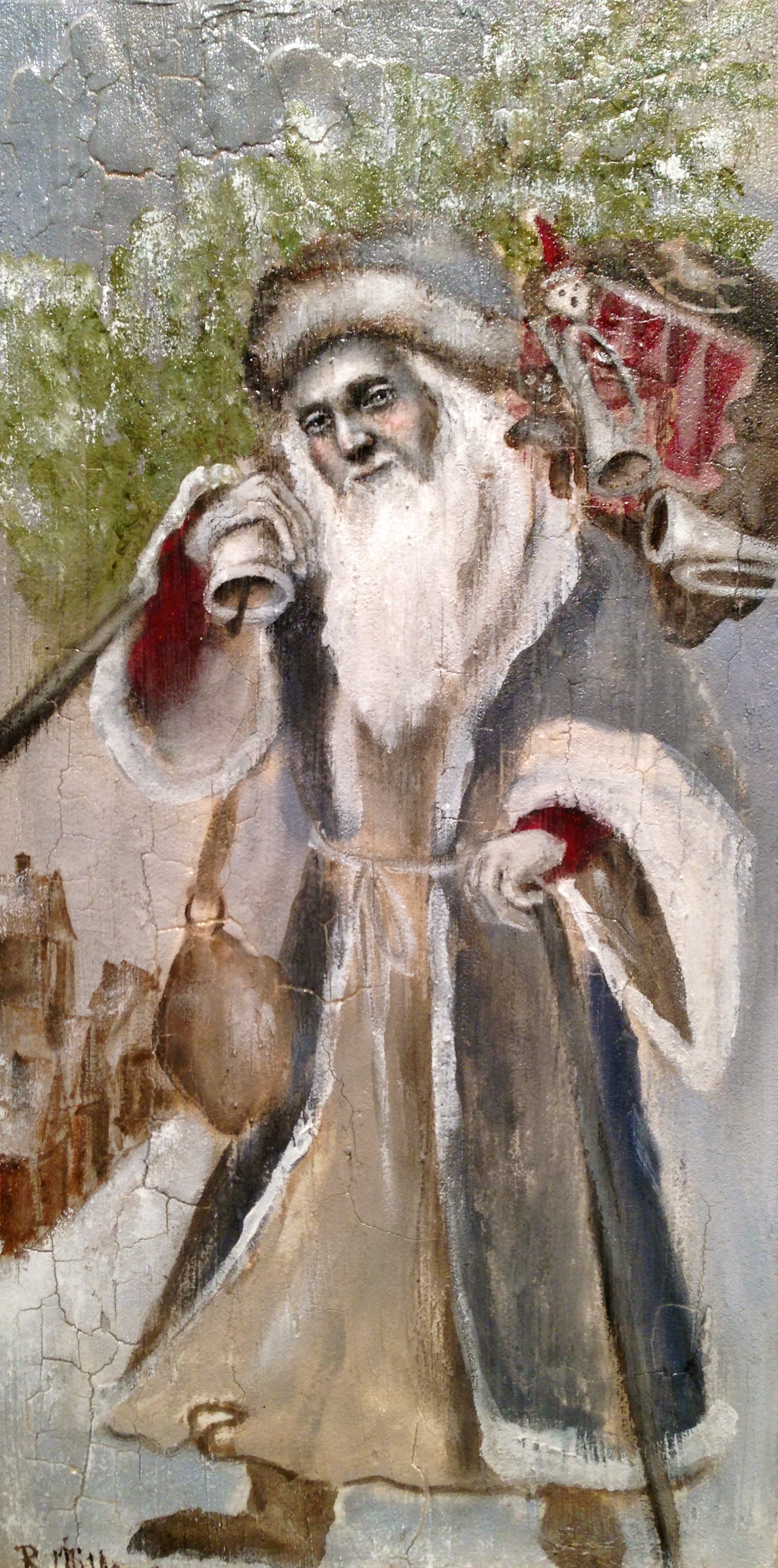 Father Christmas, 2016   Acrylic, oil, texture medium on canvas (this is almost the actual size in person)