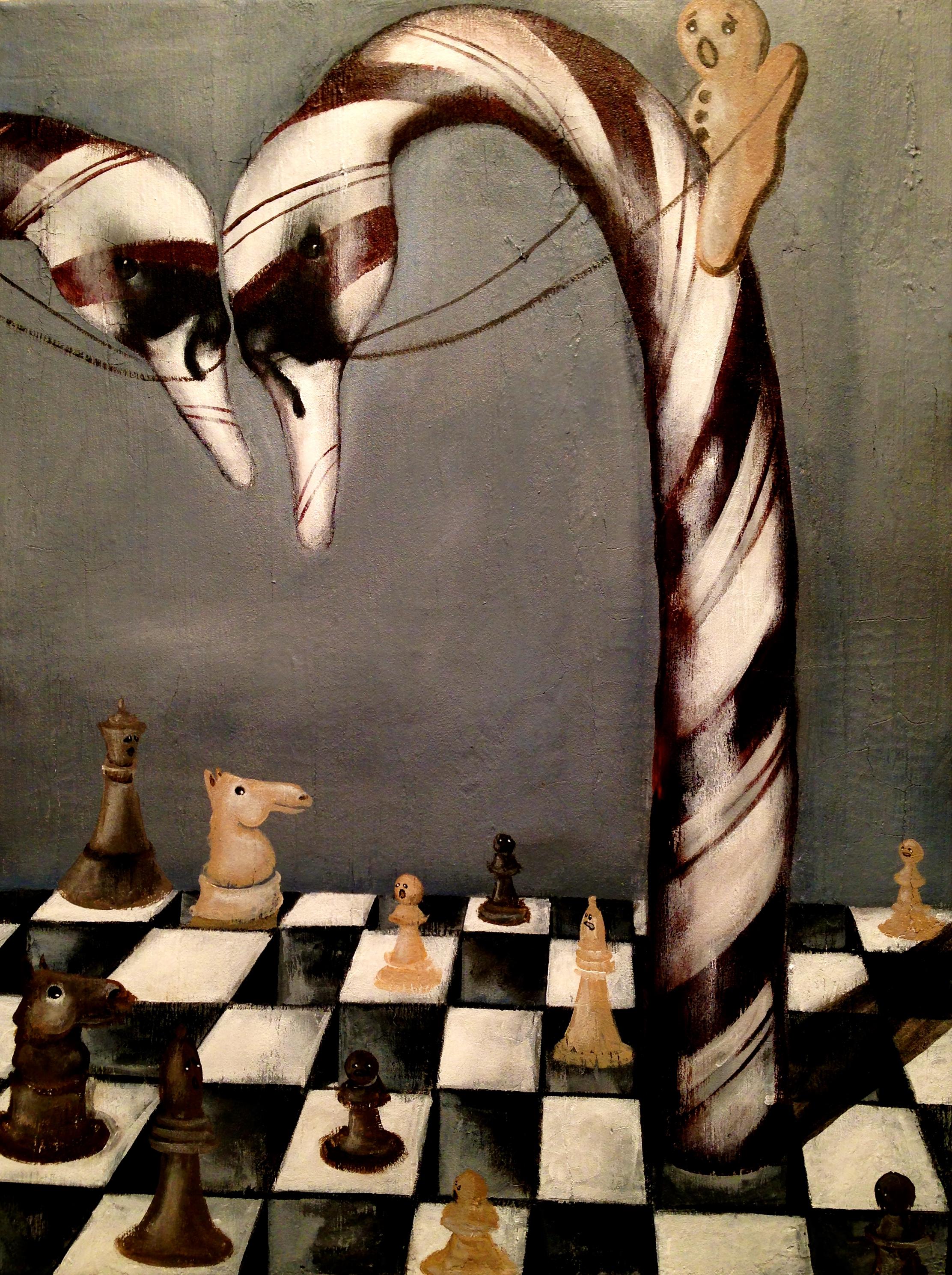 Weirdest Game of Chess Ever?, 2017   Acrylic & texture medium on canvas