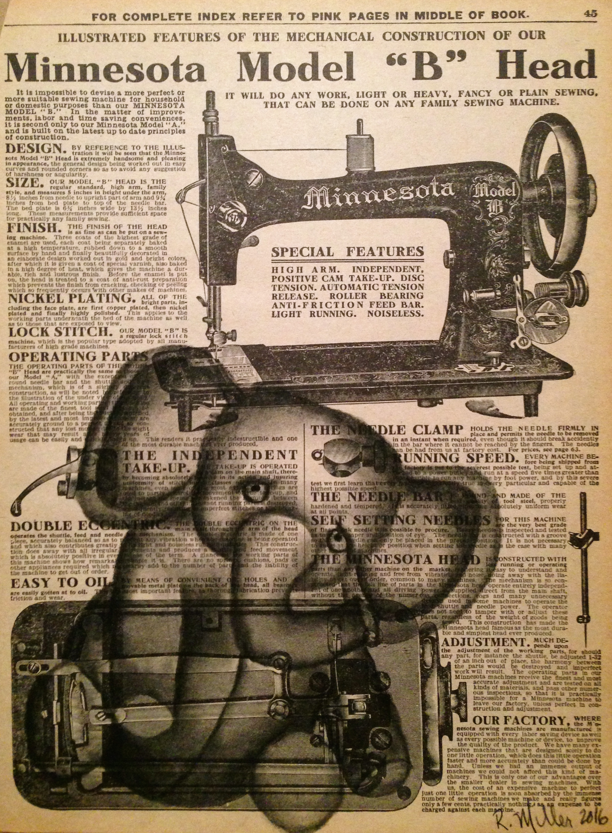Pachyderm Patch, 2016   Charcoal on antique catalog