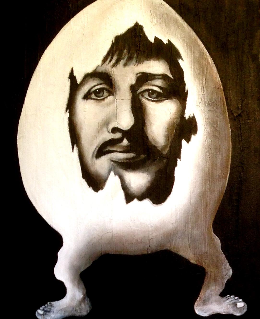 Ringo Starr Beatle Egg, 2016  Acrylic, oil texture medium on canvas