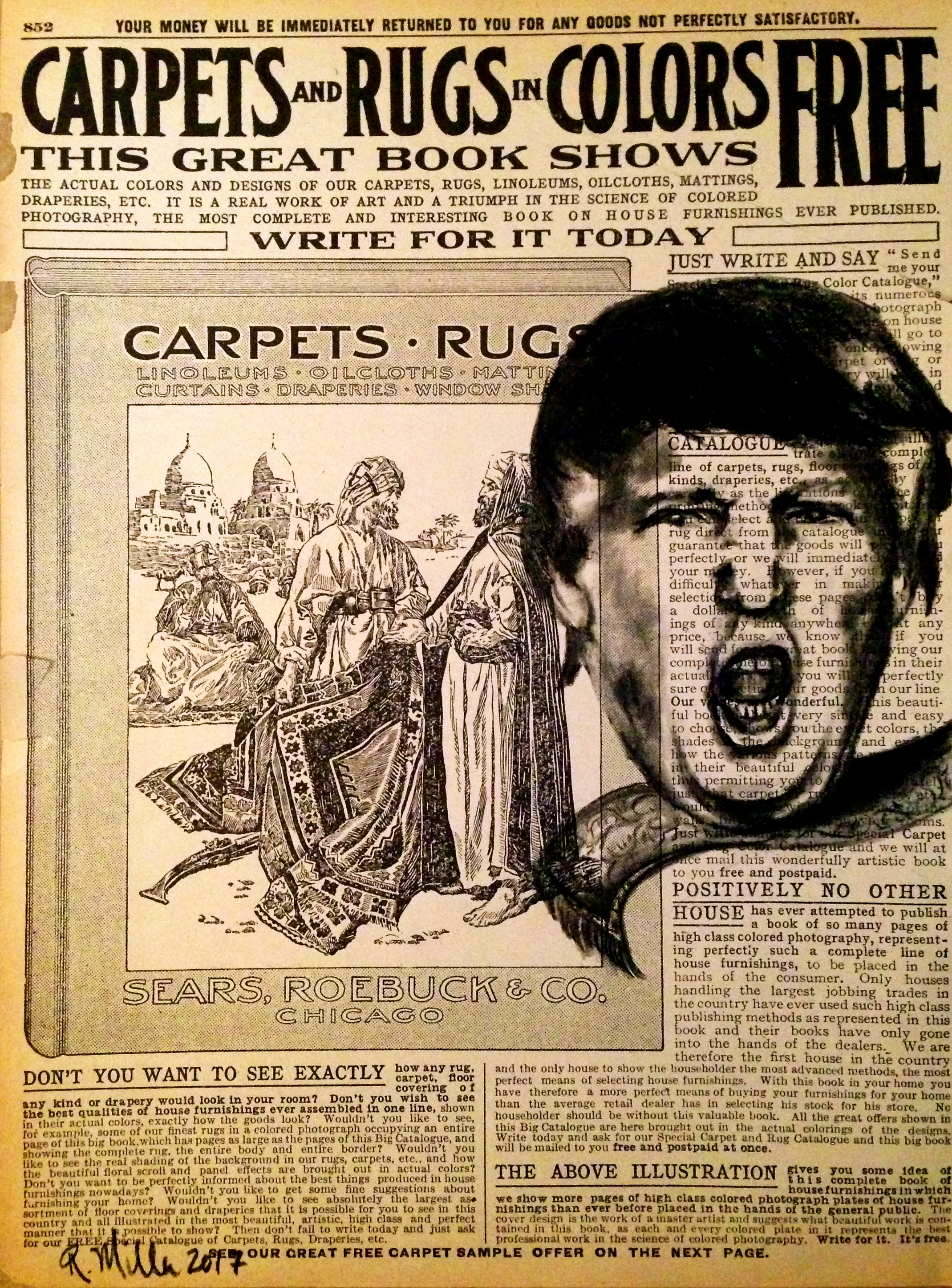 Carpets & Rugs, 2017   Charcoal on antique catalog