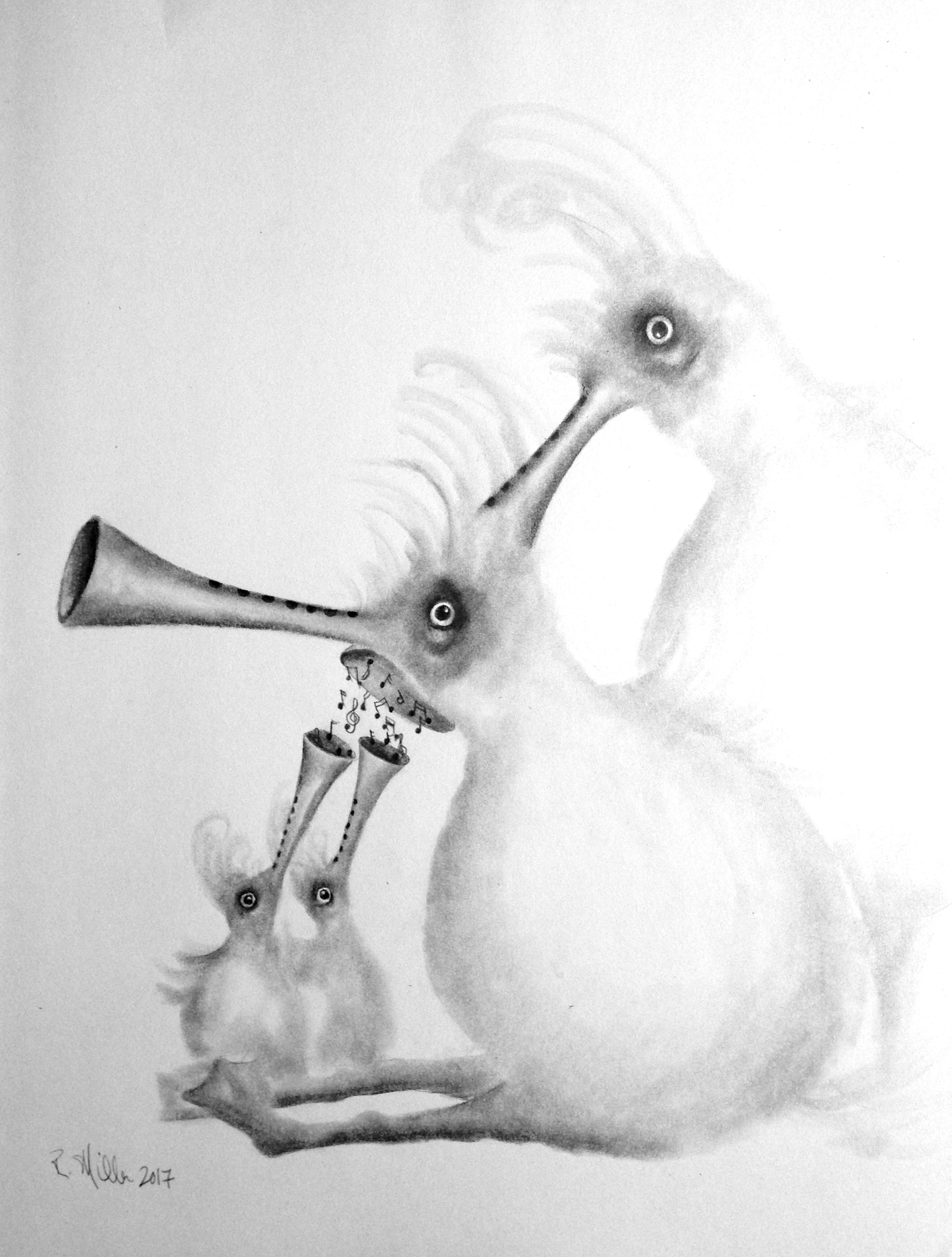 Musical Feeding 2017   #2 Pencil on paper