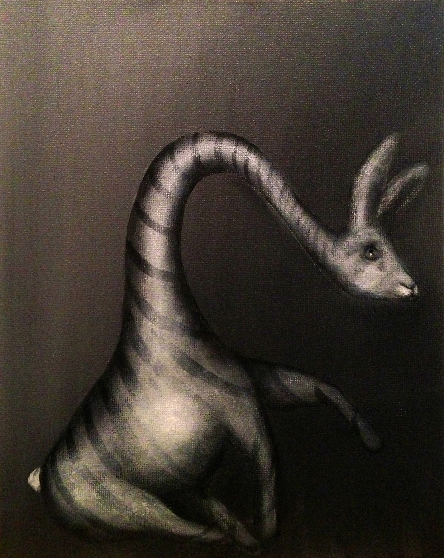 "Zebunnyraffe, 2017  Acrylic on canvas, 8""x10"""