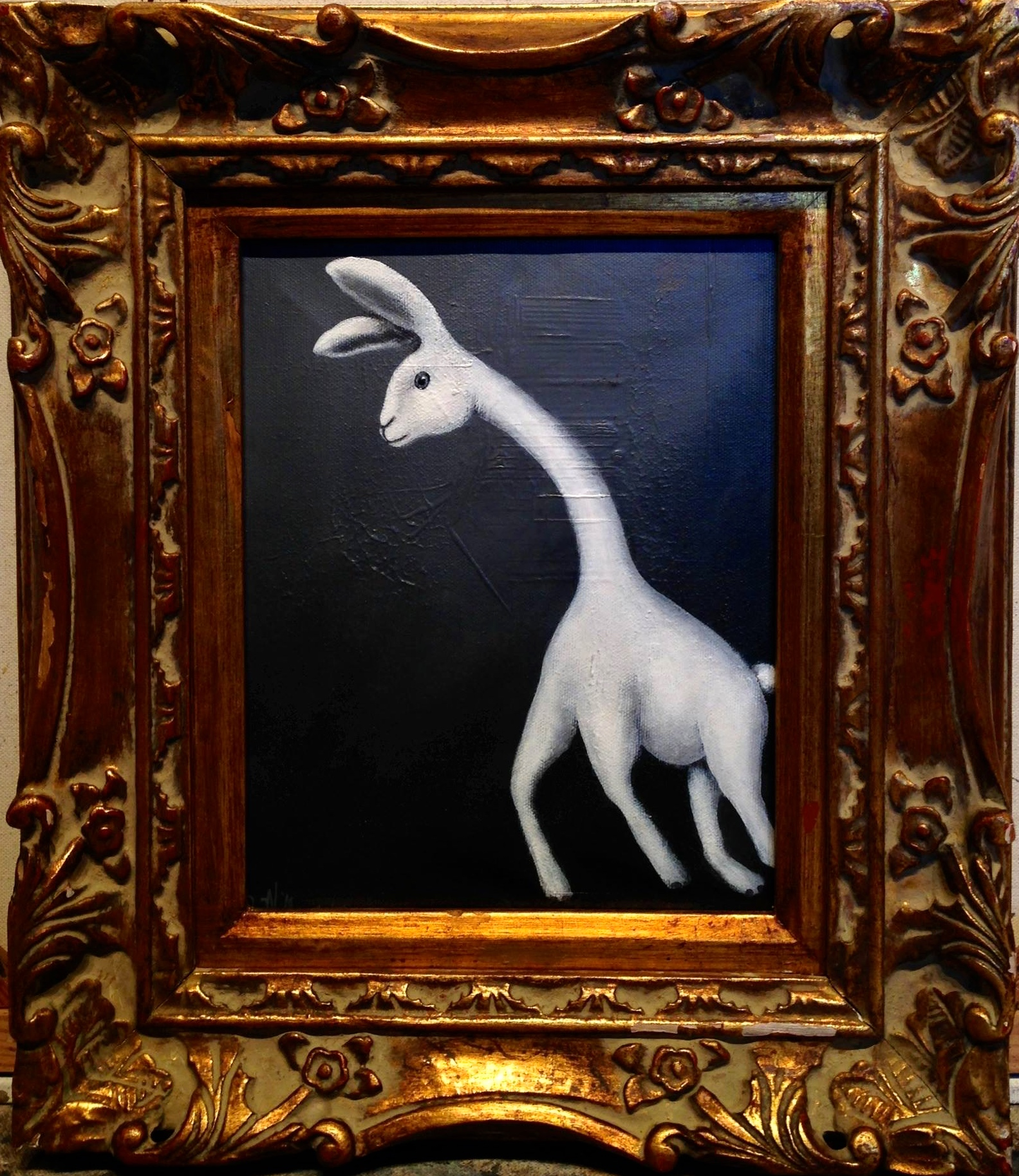 "Bunnyraffe, 2017  Acrylic on canvas, 8""x10"""