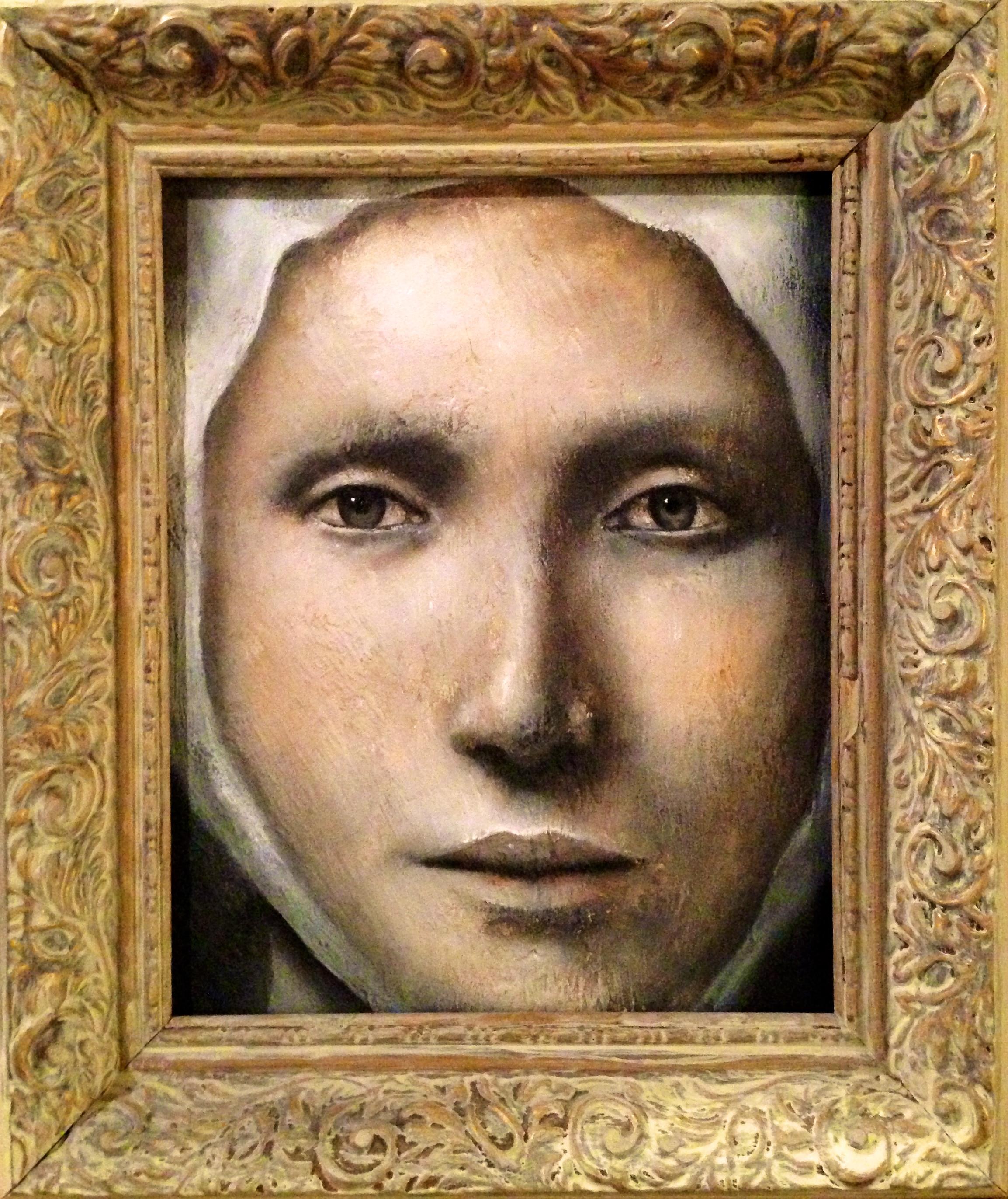 """(framed) Adelais, 2016   Acrylic, oil, texture medium on canvas 8""""x10"""""""