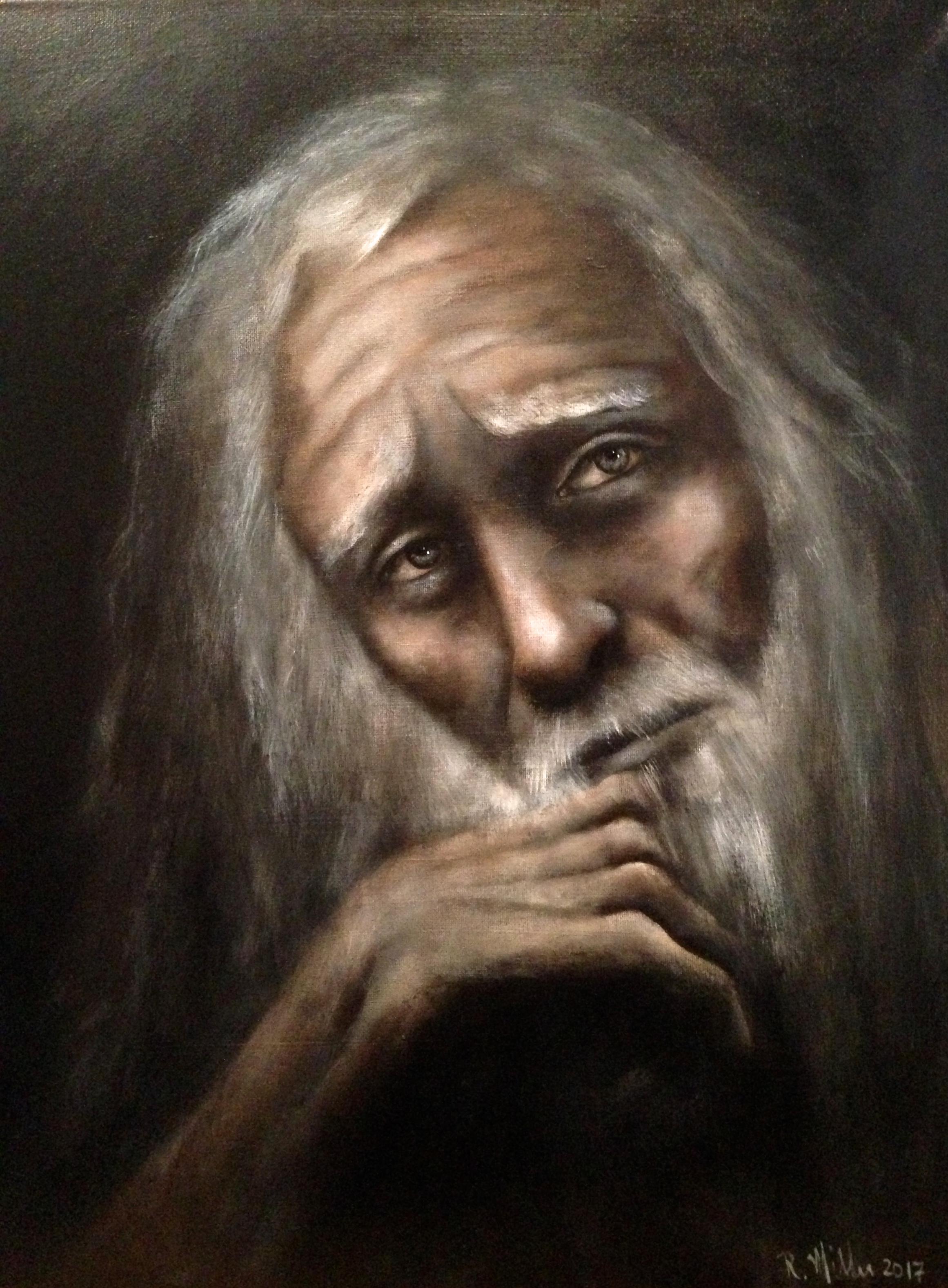 Old Man, 2017   Acrylic & texture medium on canvas