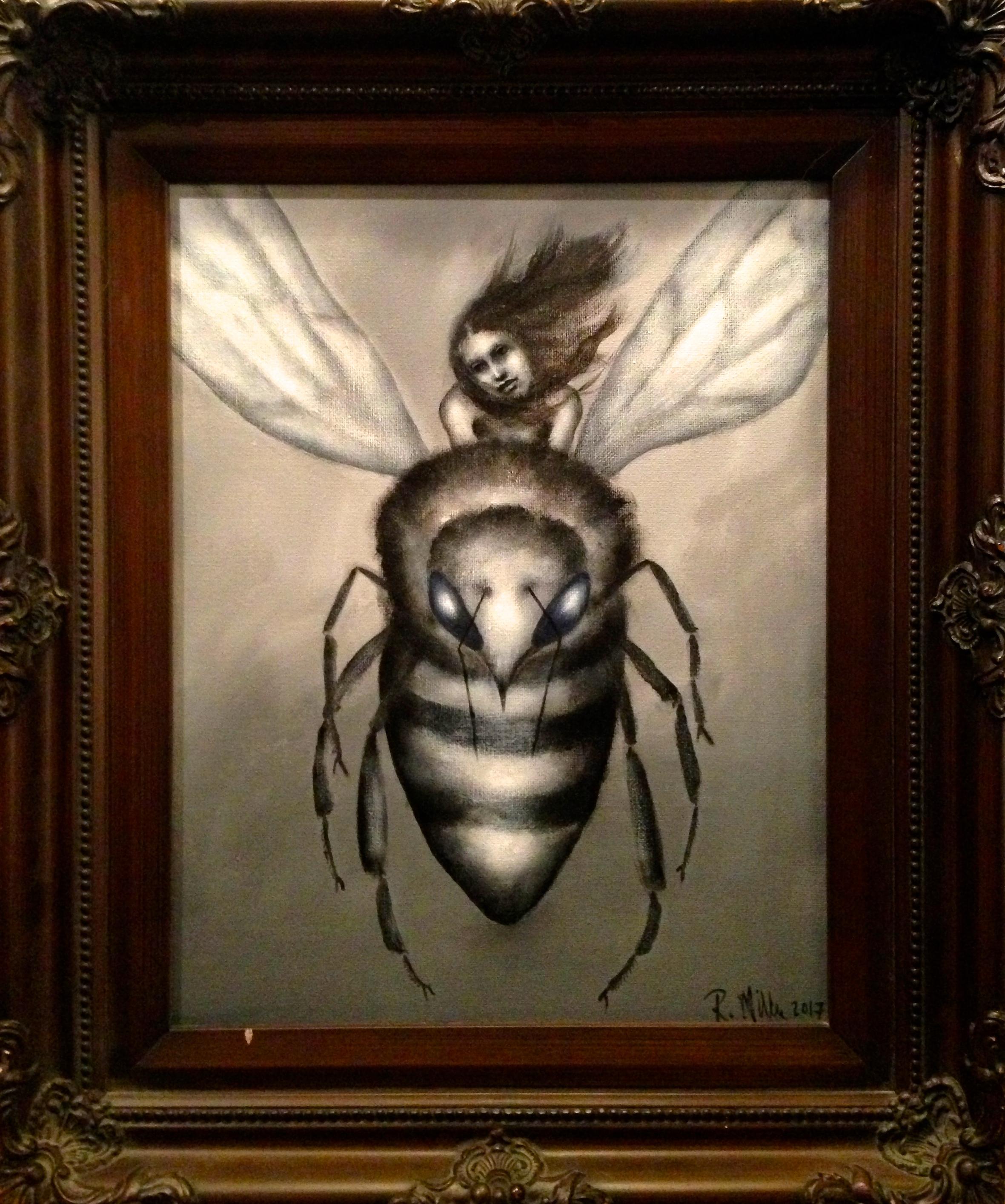 "(framed) Flight of The Honeybee, 2017   Acrylic on canvas 11""14"""