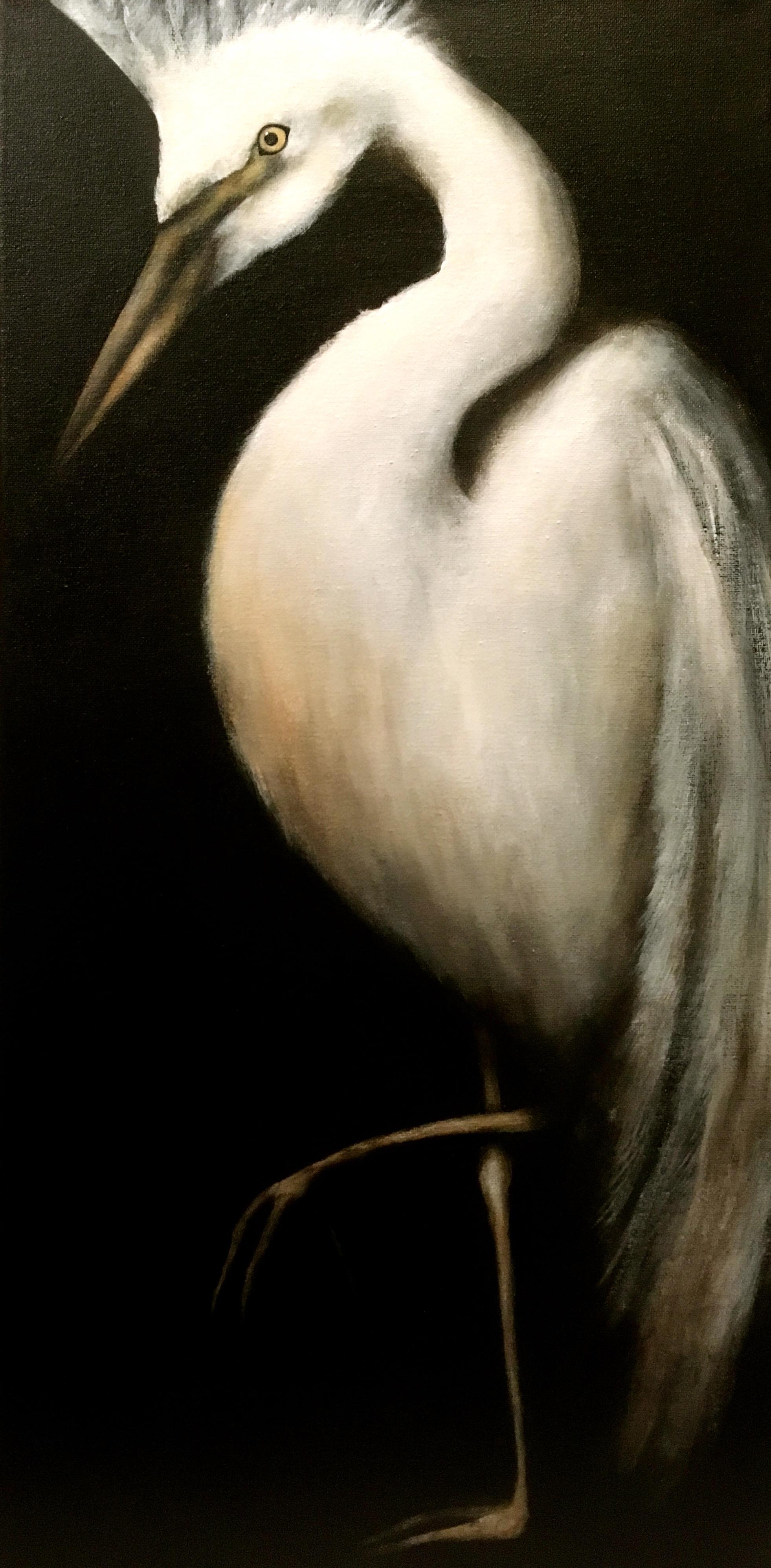 """Egret, 2017  Acrylic on canvas 12""""x24"""""""