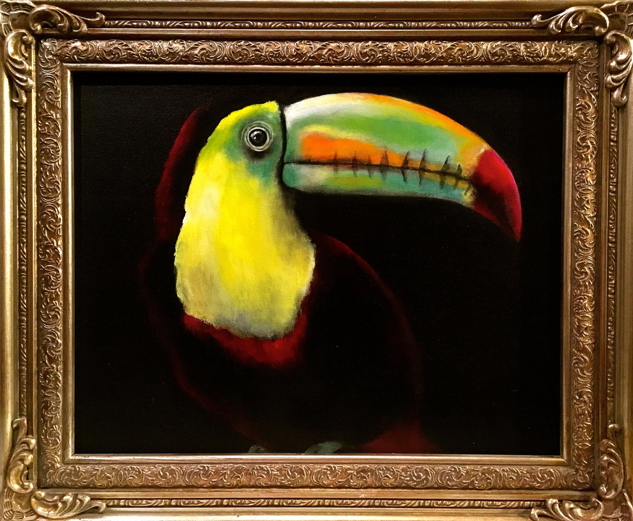 """Toucan, 2017  Acrylic on canvas 11""""x14"""""""