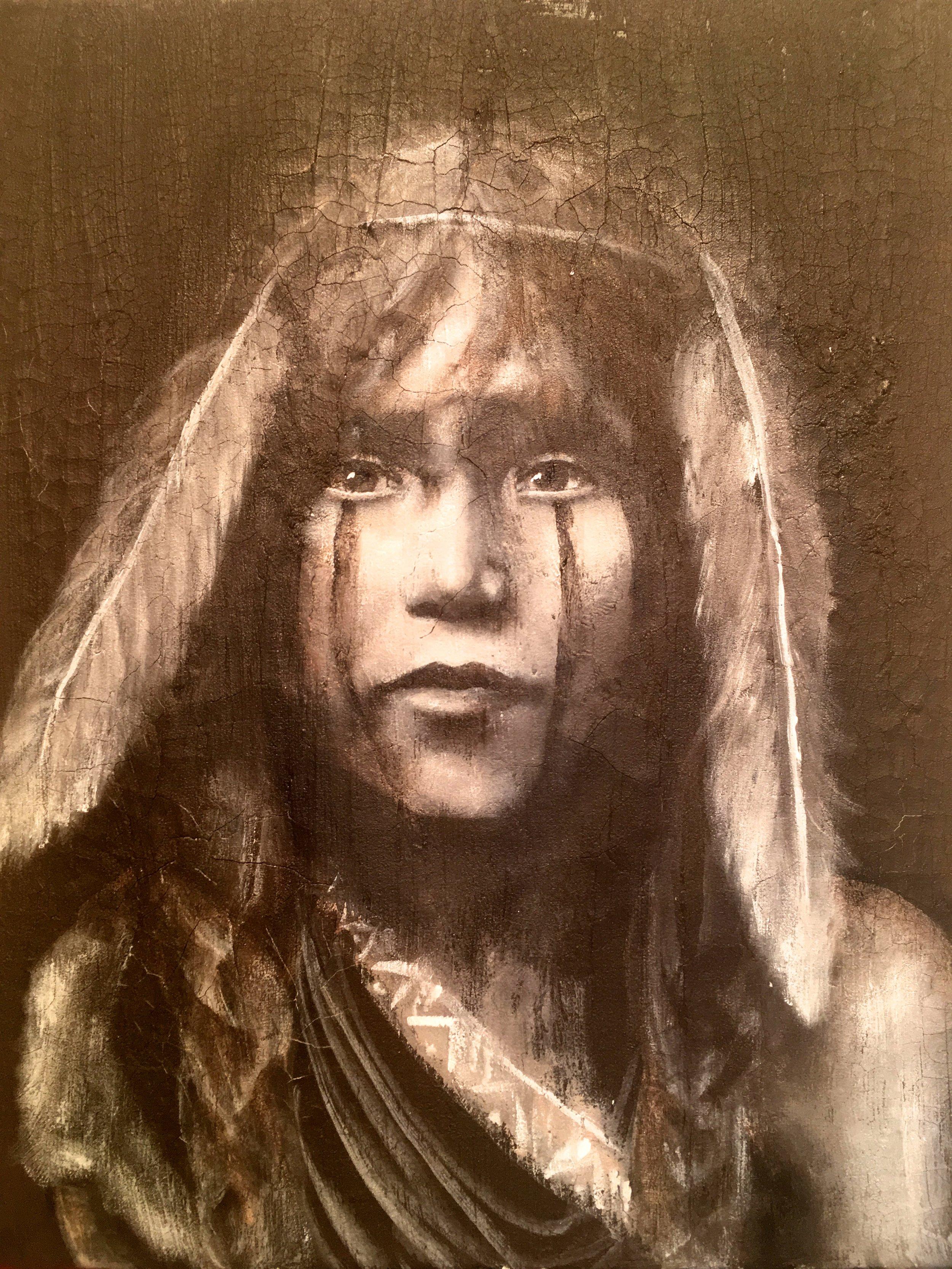 Hopi Girl, 2017   Acrylic & texture medium on canvas