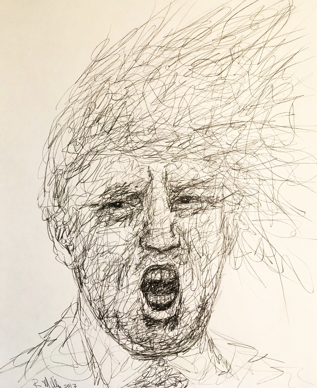 "Trump, 2017   #2 Pencil on paper 11""x 14"""