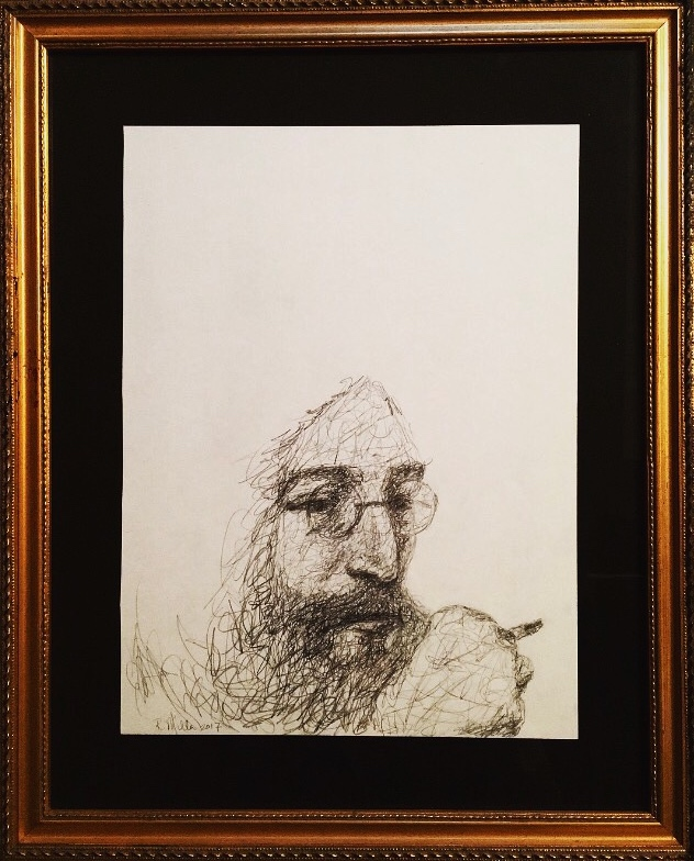 "John Lennon, 2017 (framed) An unfinished drawing and unfinished life.   #2 Pencil on paper 11""x 14"""