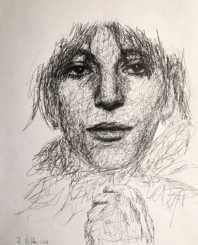 "Patti Smith, 2017   #2 Pencil on paper 11""x 14"""