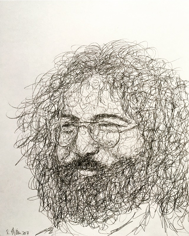 "Jerry Garcia, 2017   #2 Pencil on paper 11""x 14"""