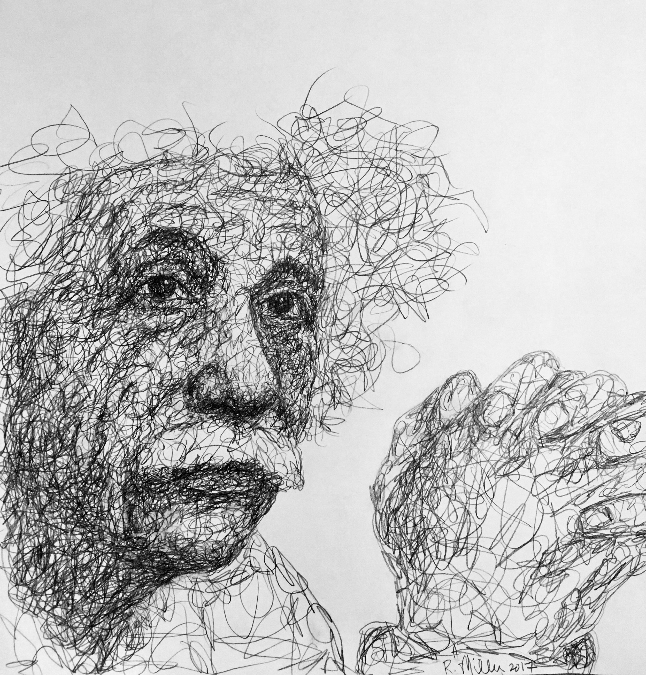 "Albert Einstein, 2017   #2 Pencil on paper 11""x 14"""