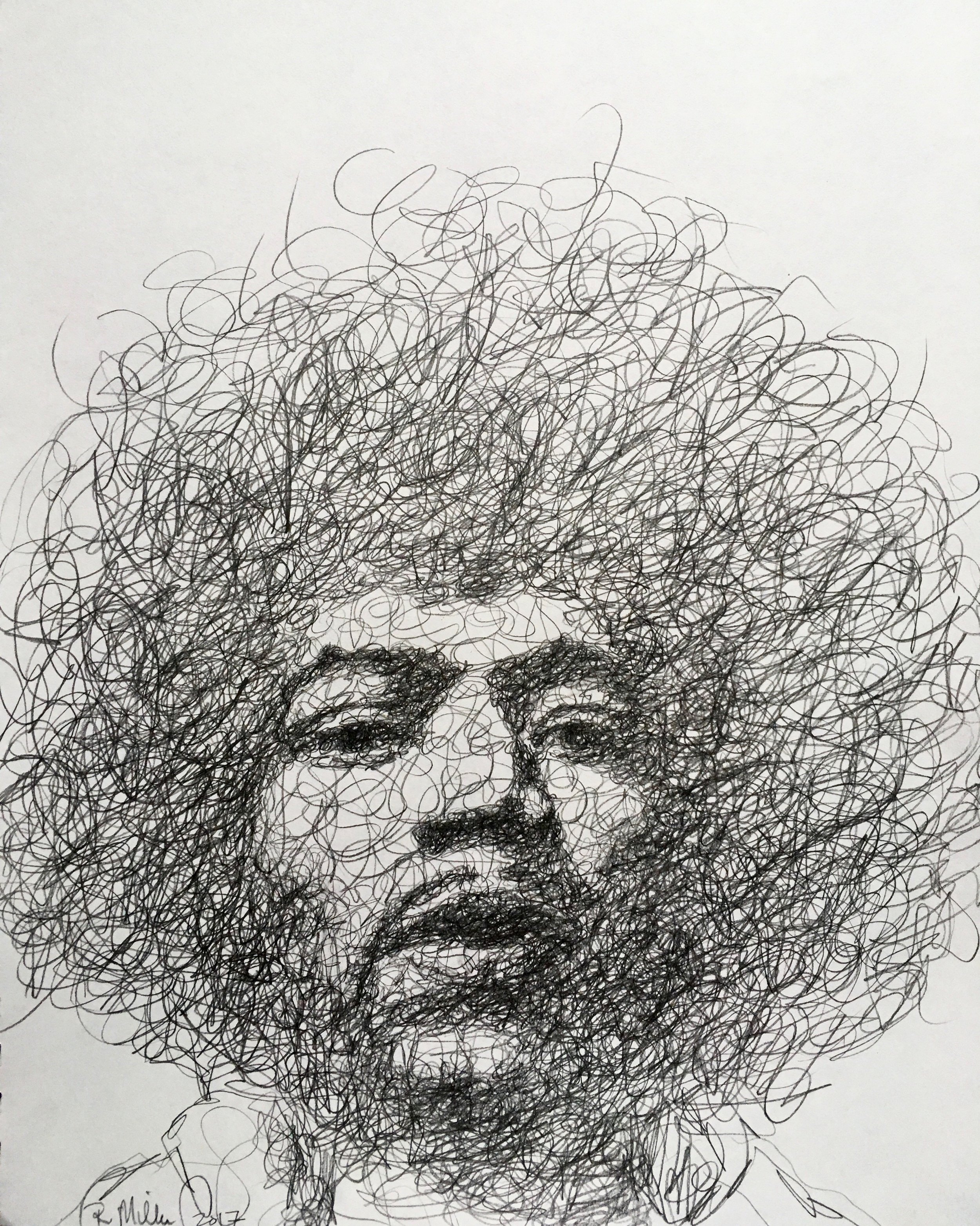 "Jimi Hendrix, 2017   #2 Pencil on paper 11""x 14"""