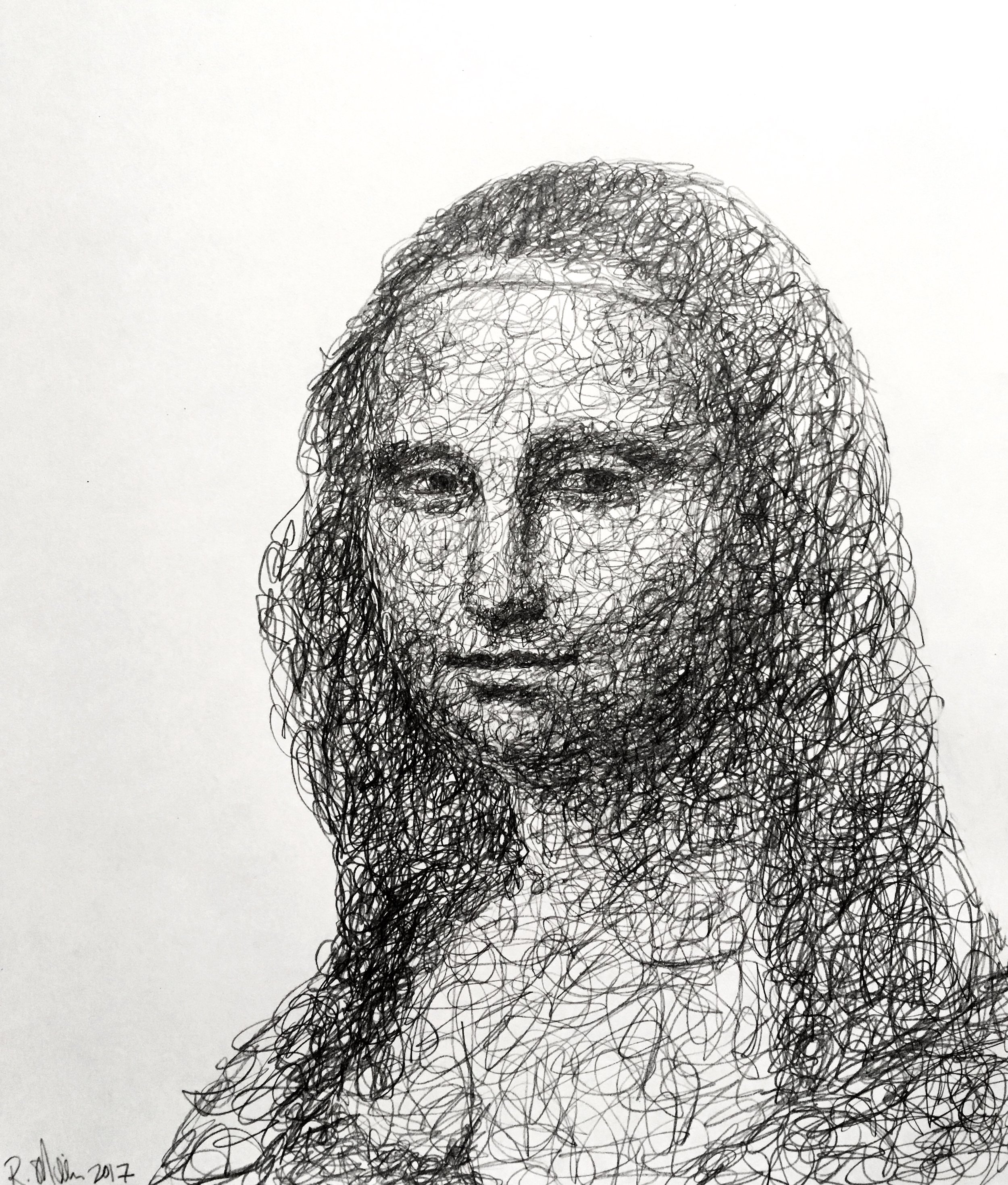 "Mona Scribble, 2017   #2 Pencil on paper 11""x 14"""