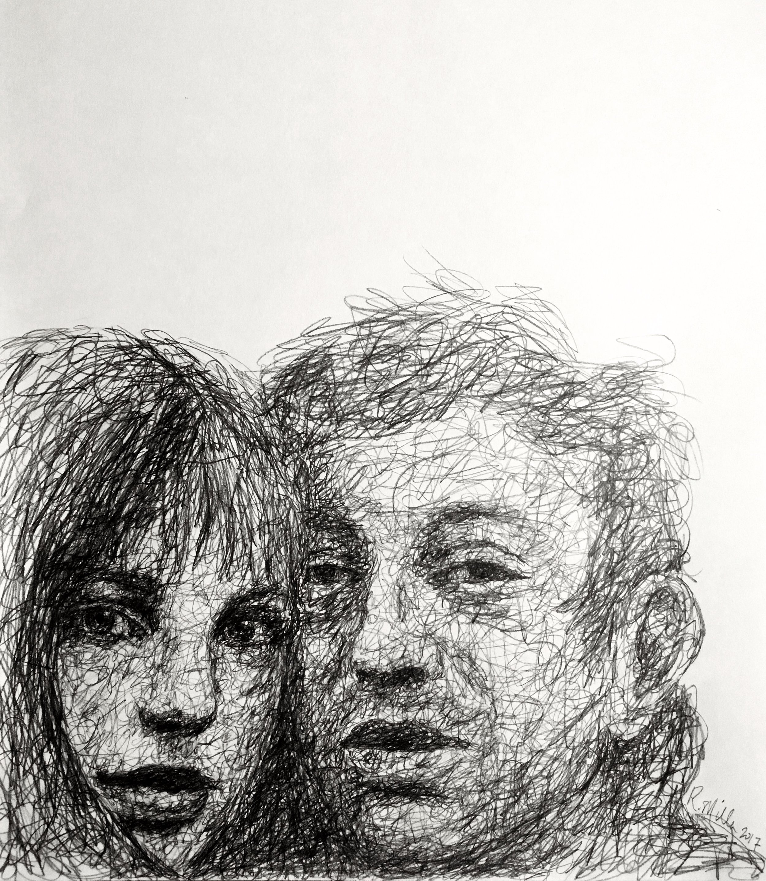 "Serge & Jane, 2017   #2 Pencil on paper 11""x 14"""