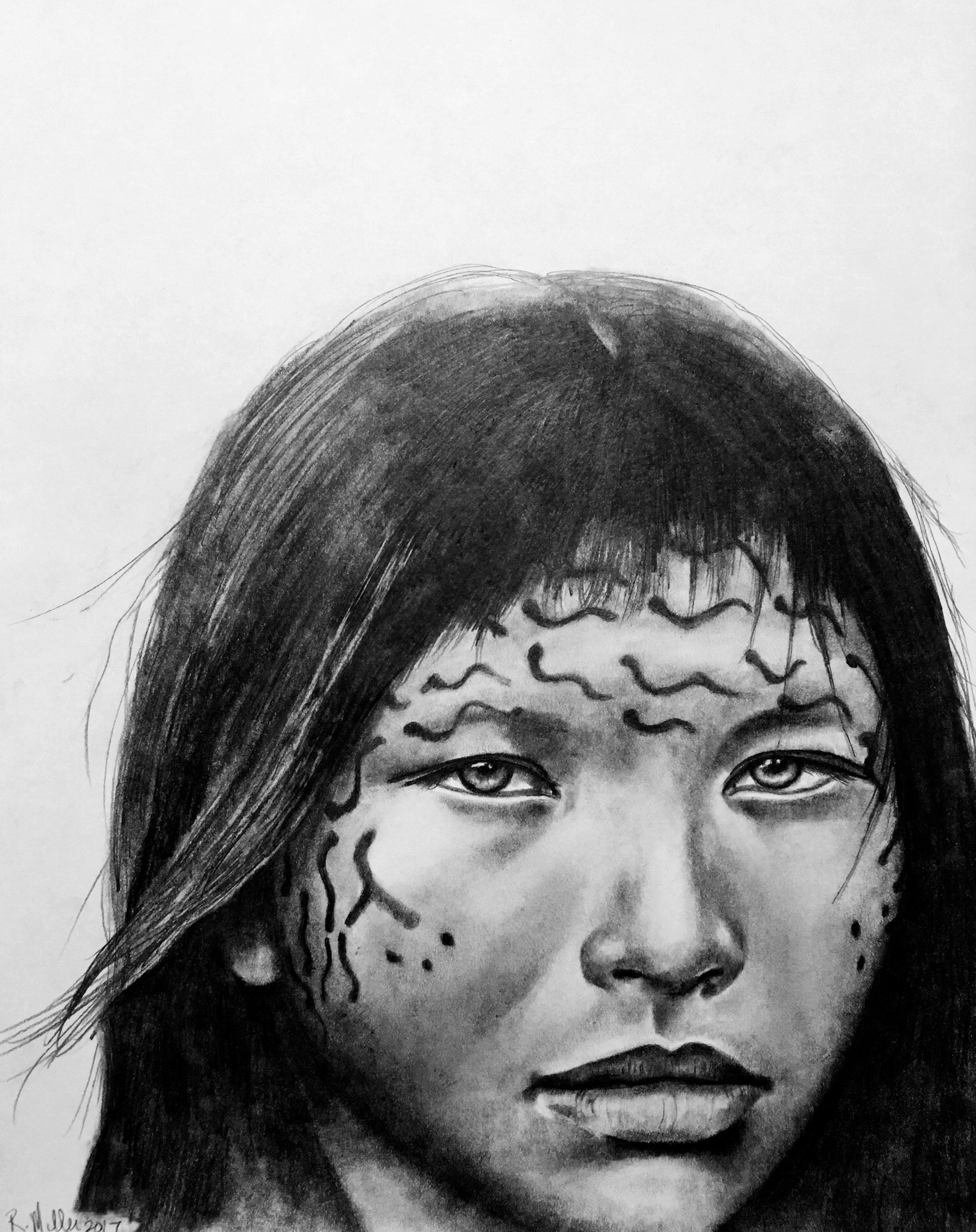 "Yanomami Girl, 2017   #2 Pencil on paper 11"" x 14"""