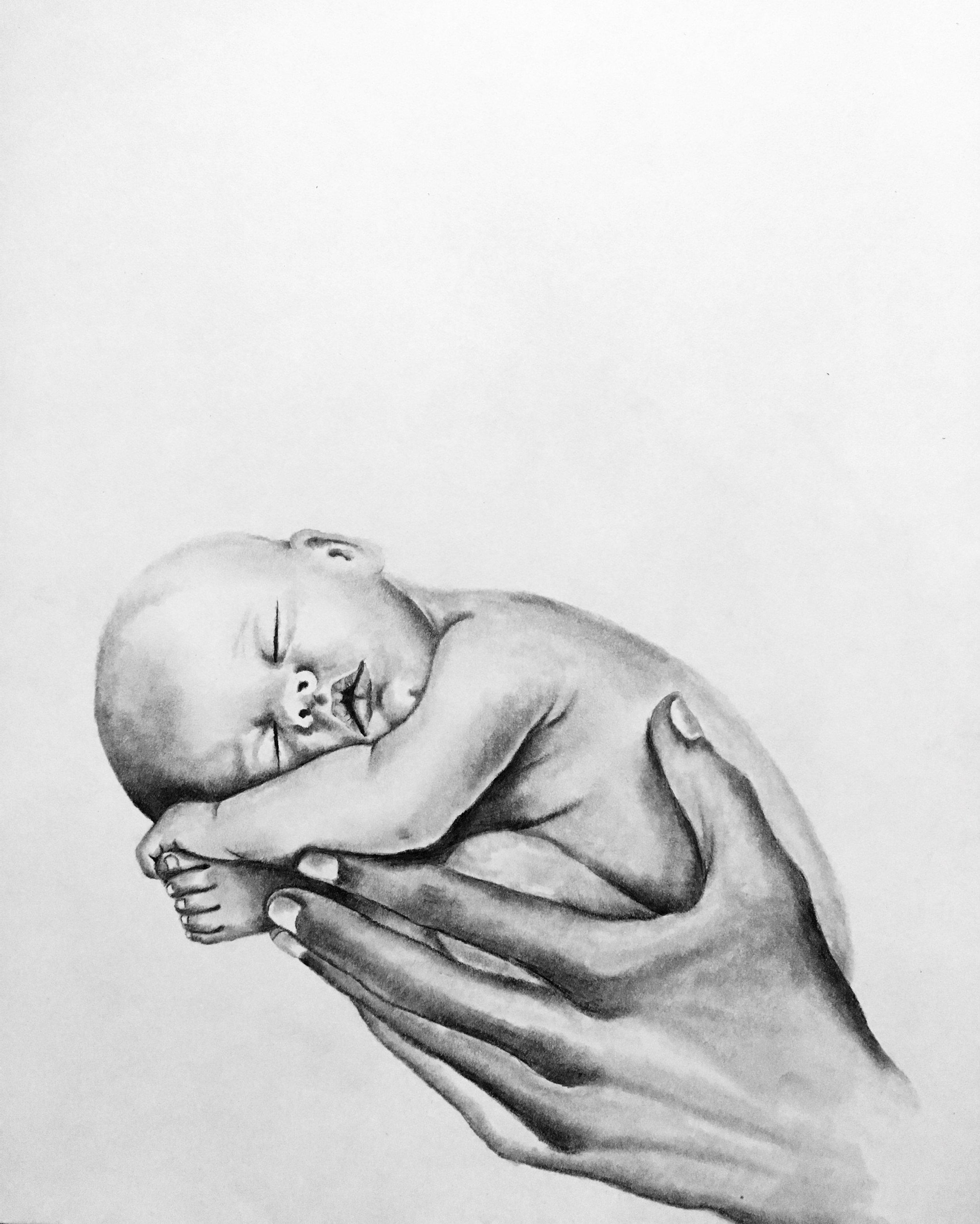 Newborn, 2018   #2 pencil & charcoal on paper