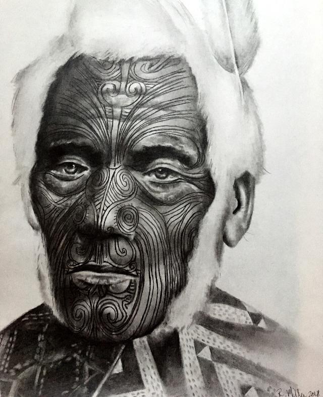 """Maori Chief Anehana, 2018 ~Ki te kahore he whakakitenga ka ngaro te iwi -Without foresight or vision the people will be lost  #2 pencil on paper, 11""""x14"""""""