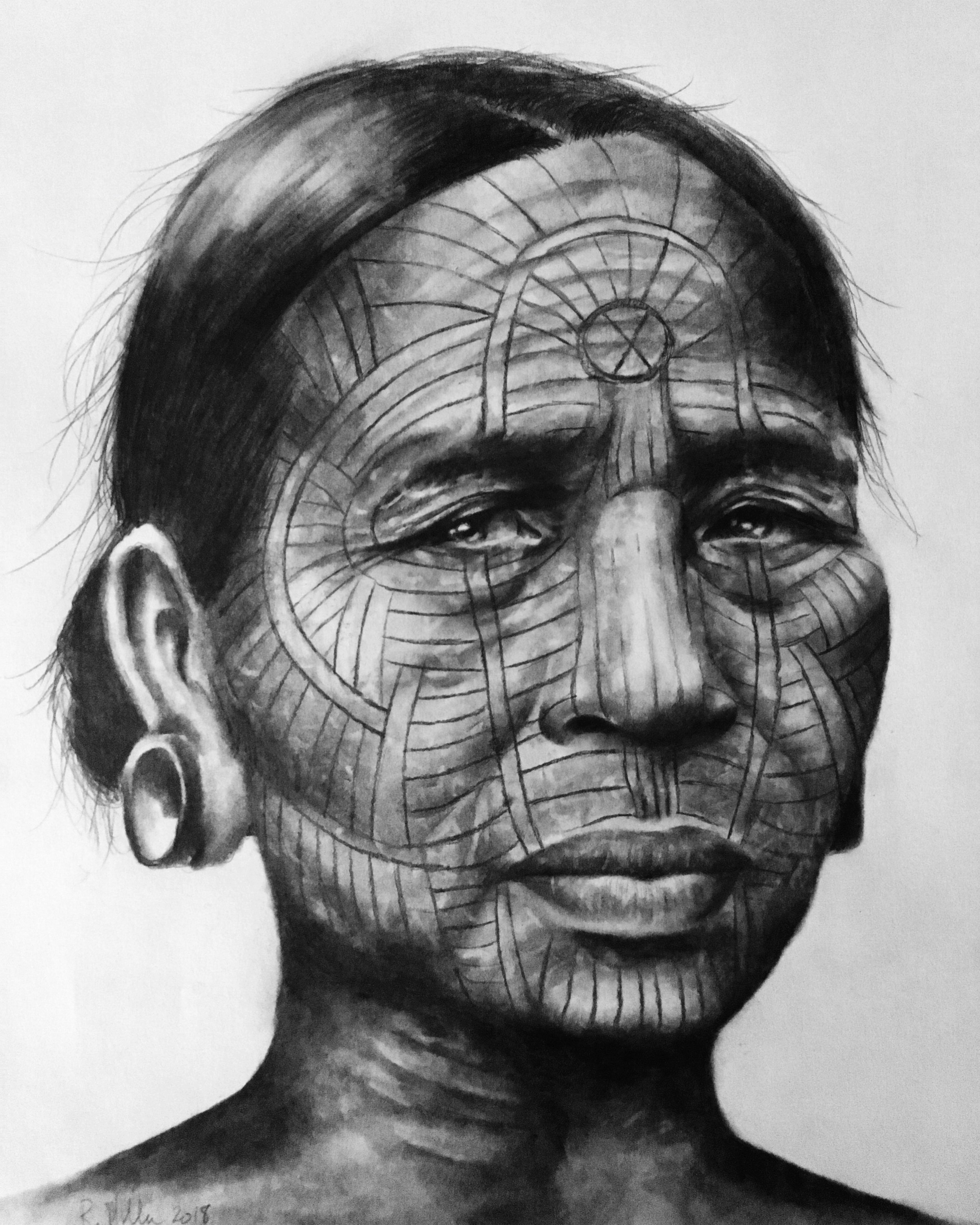Chin Woman, 2018   #2 pencil on paper