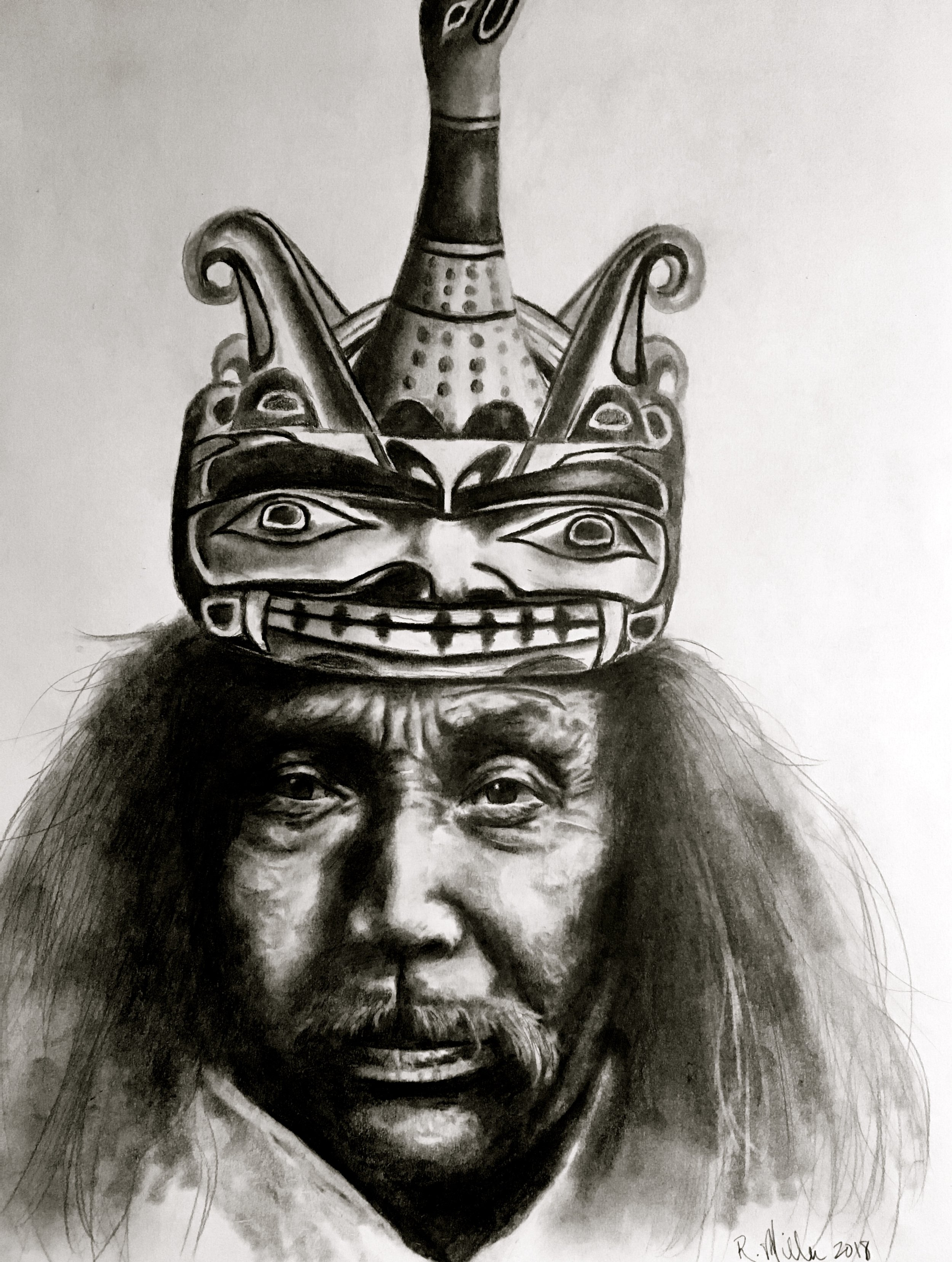 "Kwakiutl Man wearing mask depicting a man transforming into a loon. Drawn from 1914 image taken by Edward Curtis.   #2 pencil on paper, 11""x14"""