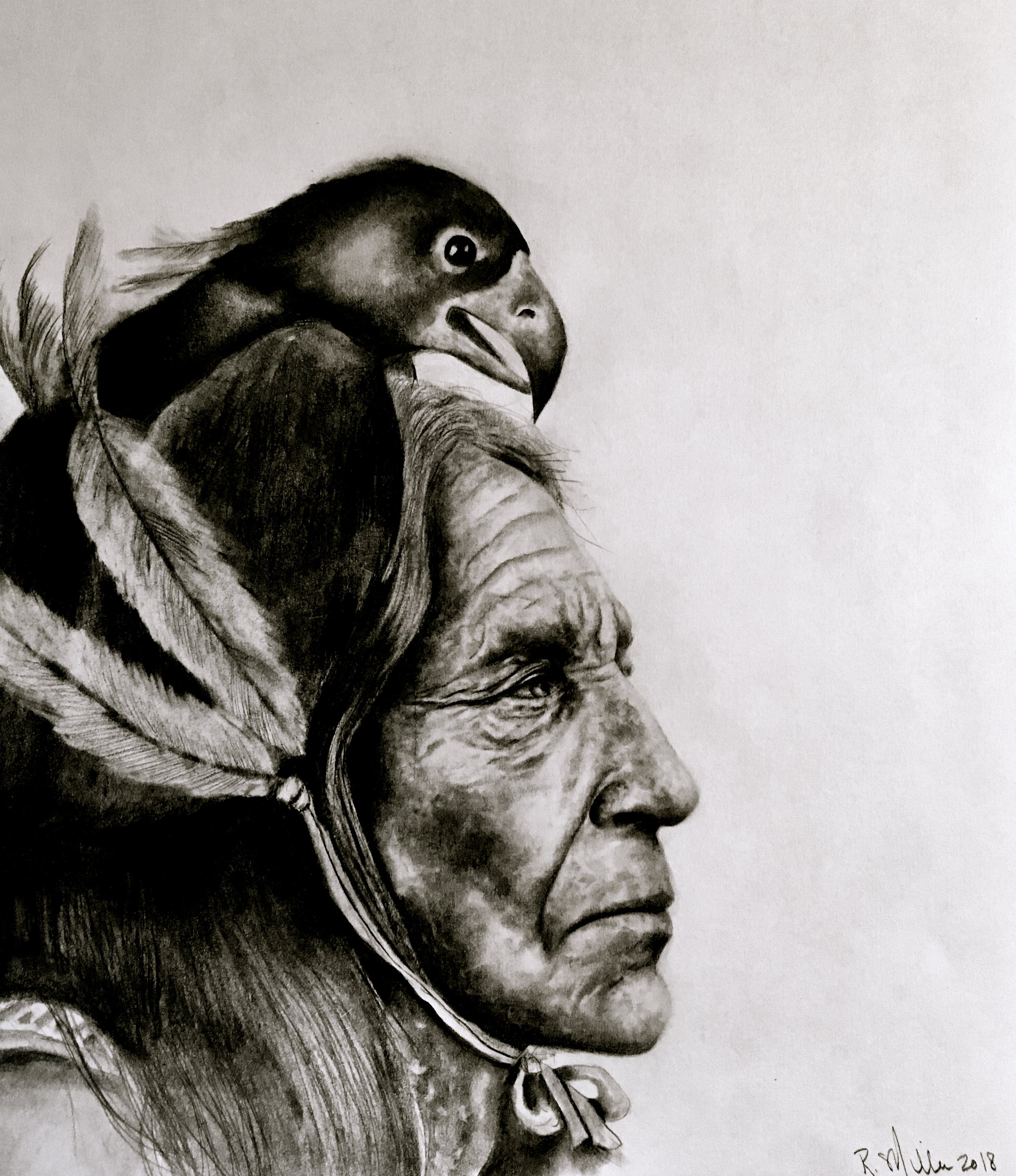 "Native American Man, 2018  #2 pencil on paper, 11""x14"""