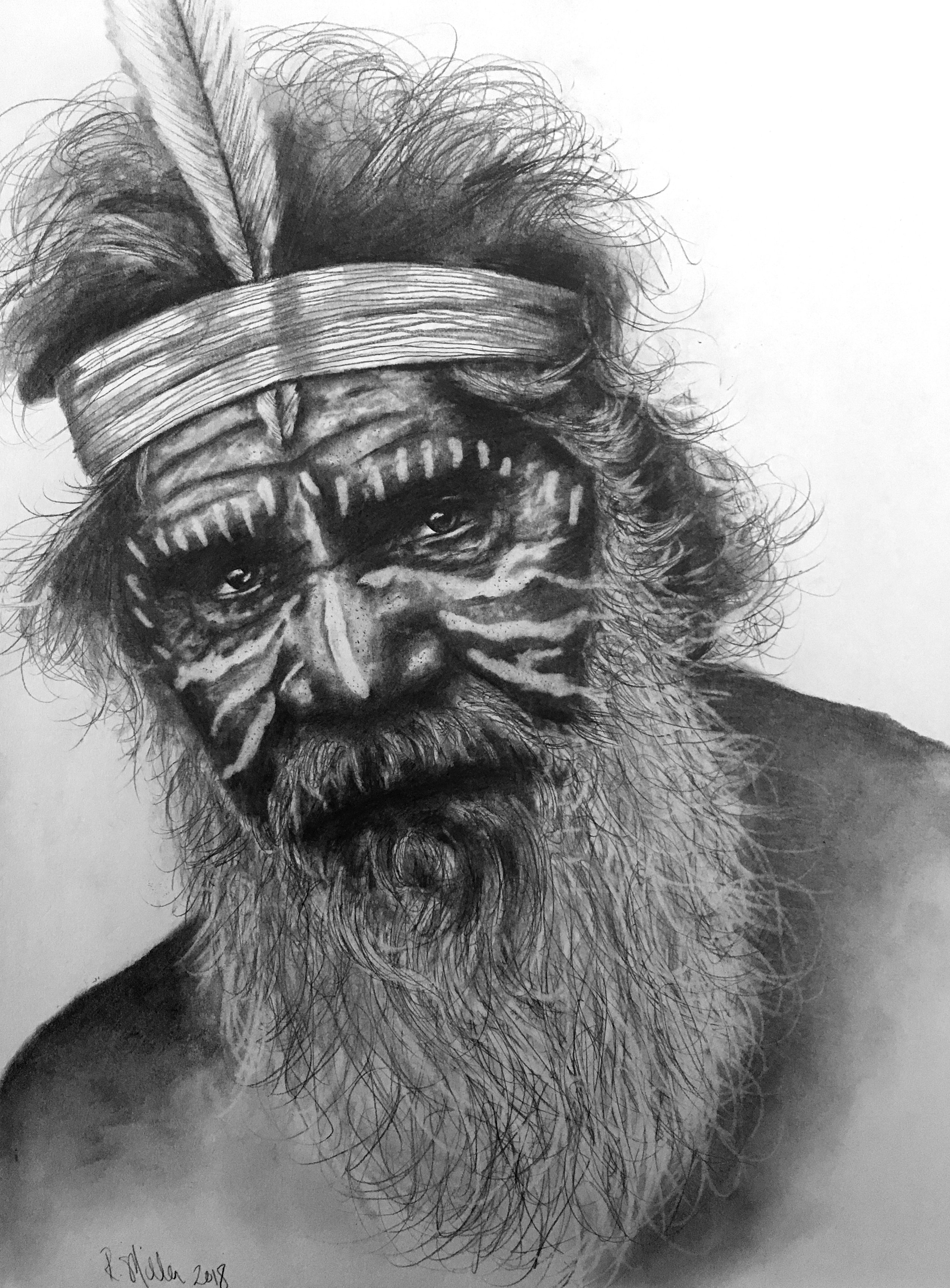 "Aboriginal Man, 2018 ""We are all visitors to this time, this place. We are just passing through. Our purpose here is to observe, to learn, to grow, to love… and then we return home."" – Australian Aboriginal saying   #2 Pencil on paper,11""x14"""