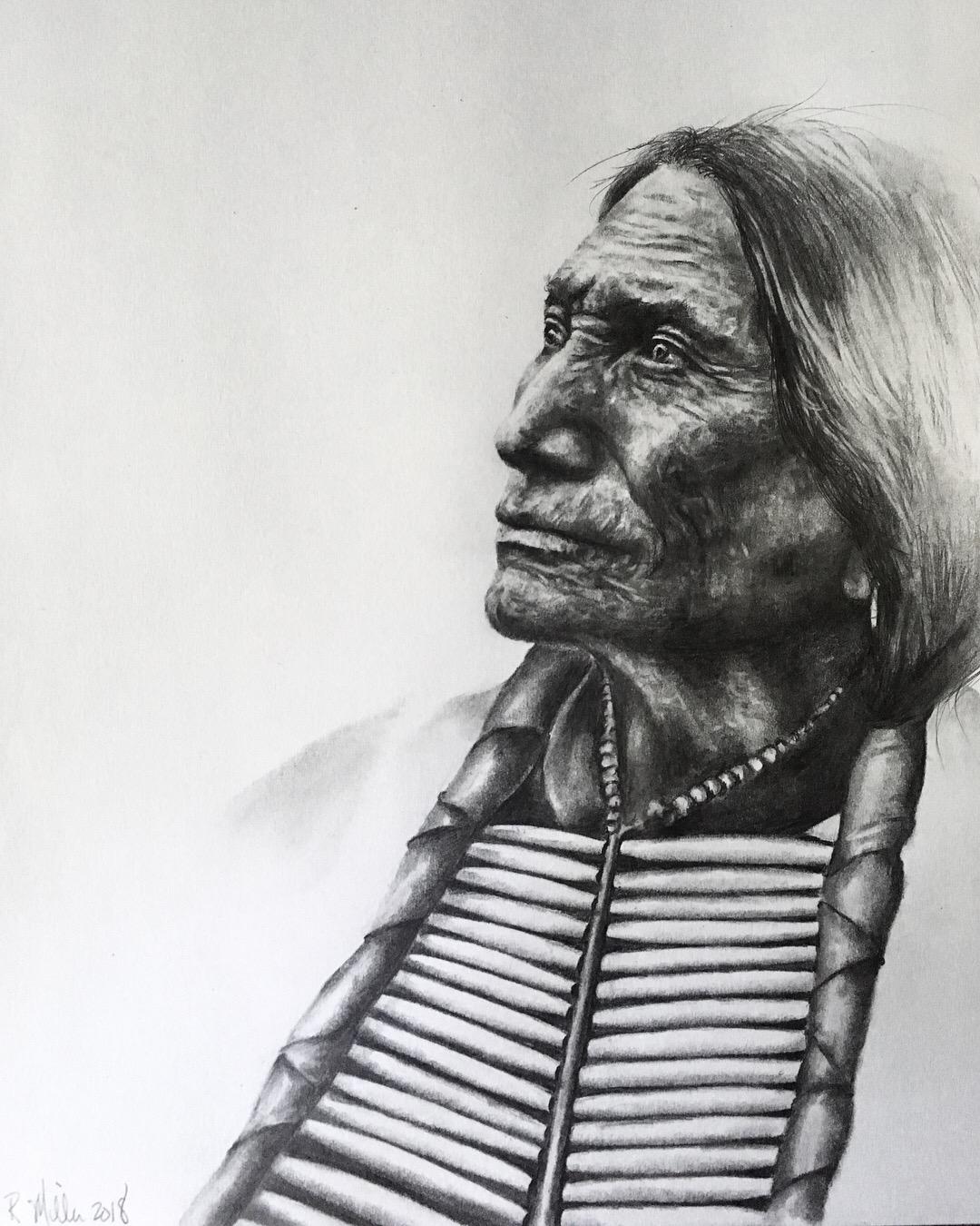 "Lakota Sioux, 2018  #2 pencil on paper 11""x 14"""