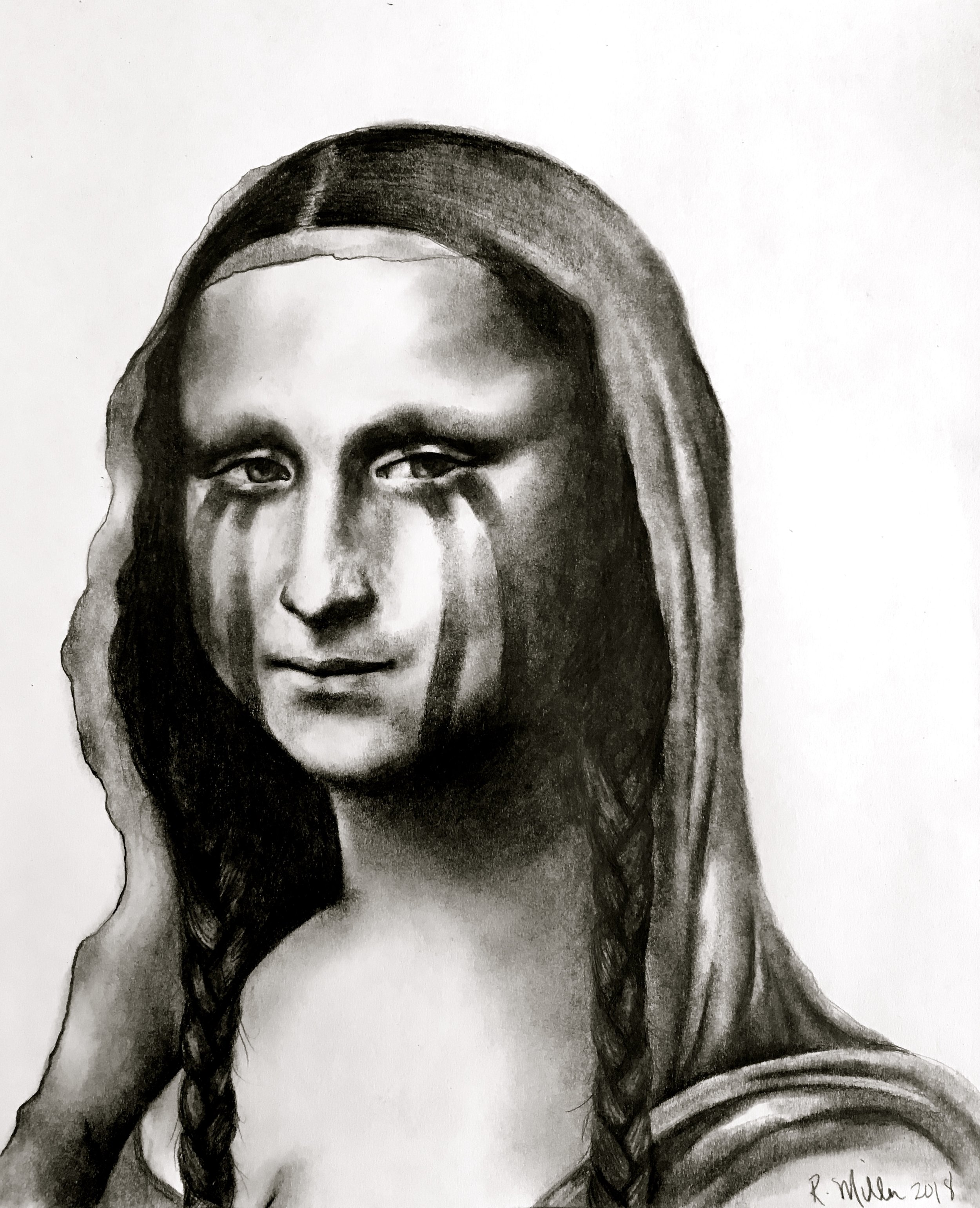 War Paint Mona Lisa, 2018   #2 pencil on paper