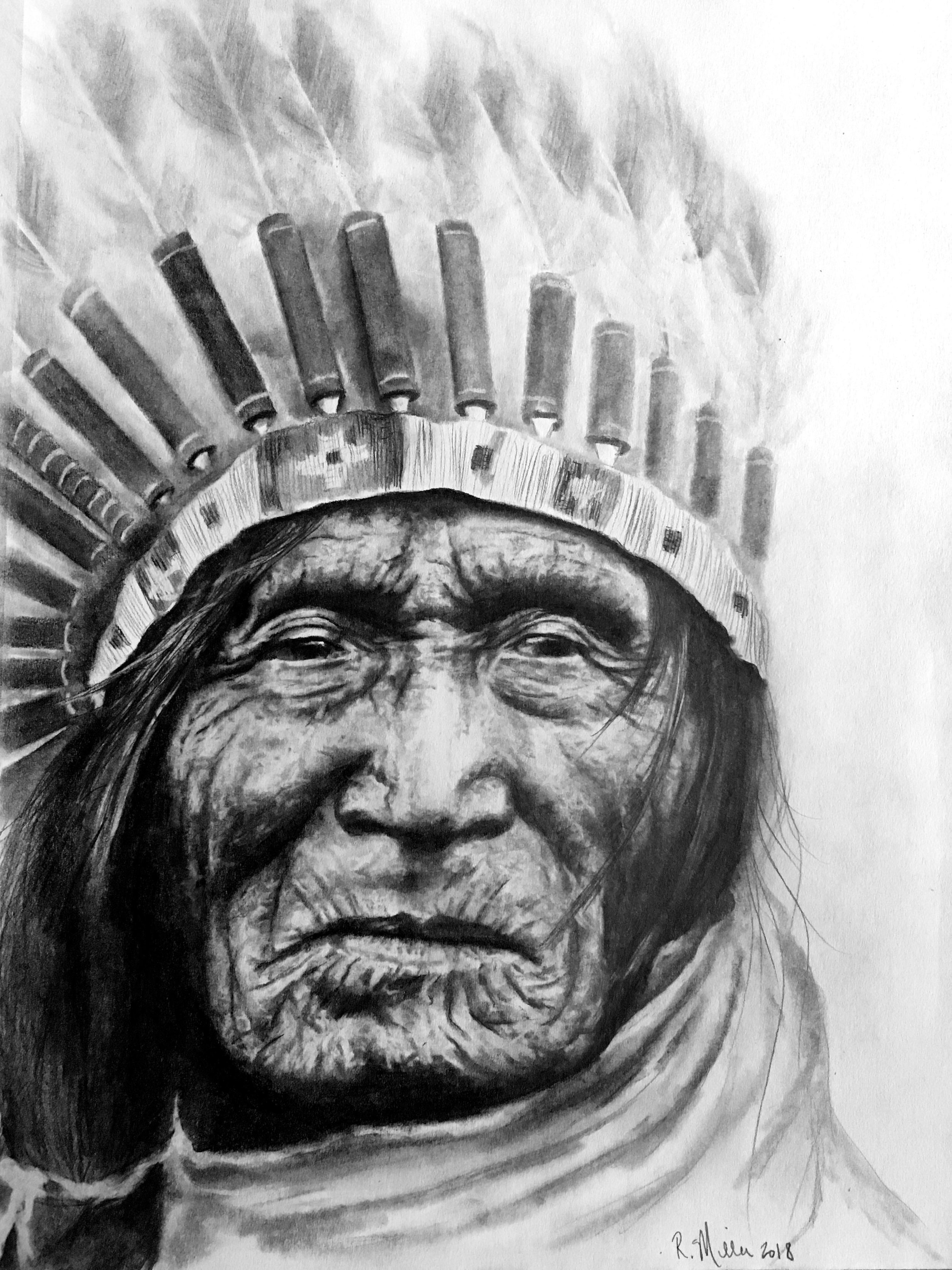 "Chief He Dog, Lakota Sioux, 2018  #2 pencil on paper 11""x 14"""