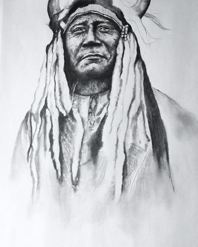 Chief Two Moons, 2019  #2 Pencil on paper
