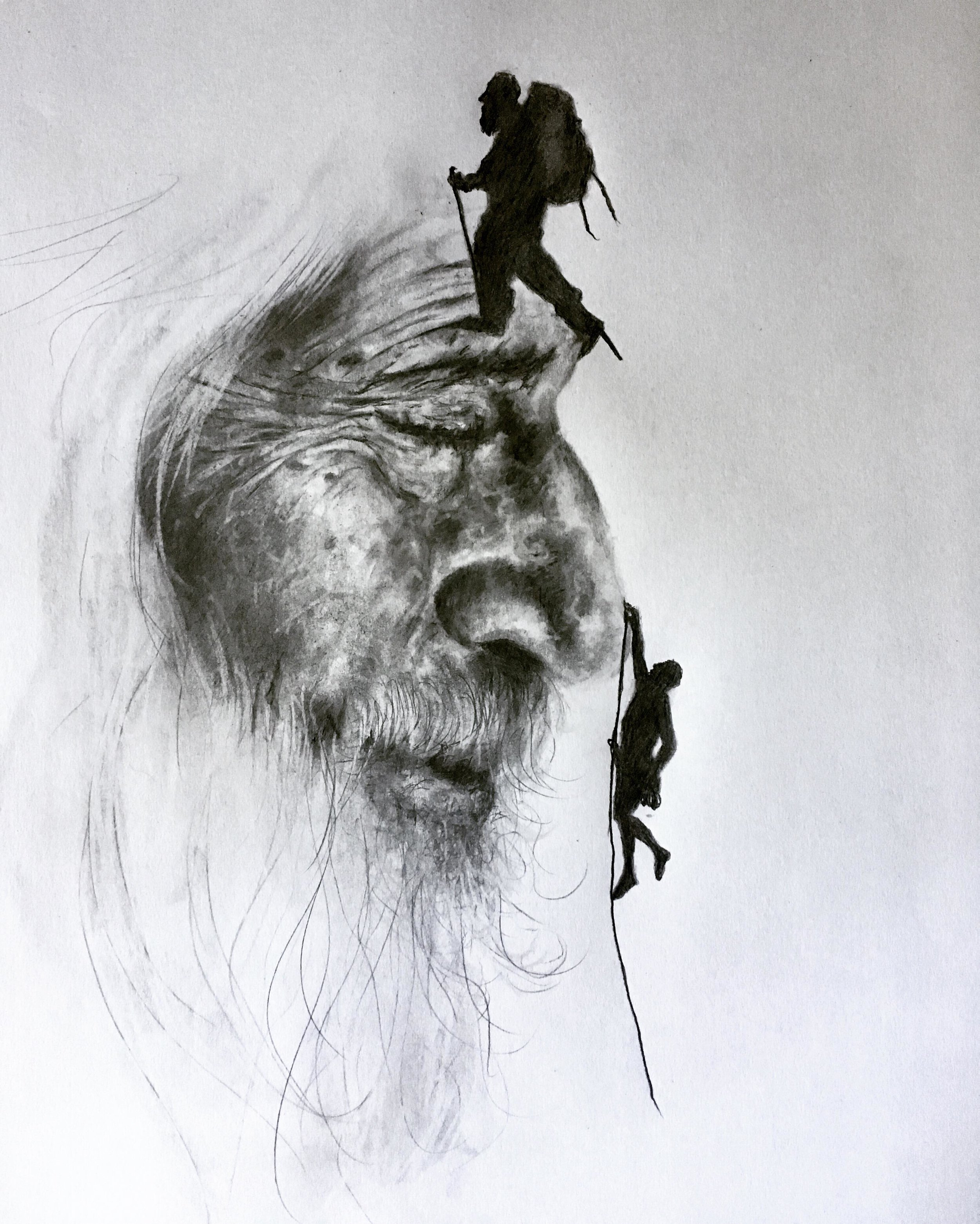 """The Mountaineer, 2019 (inspired by my beautiful mountaineering mother)   #2 pencil on paper, 11""""x14"""""""