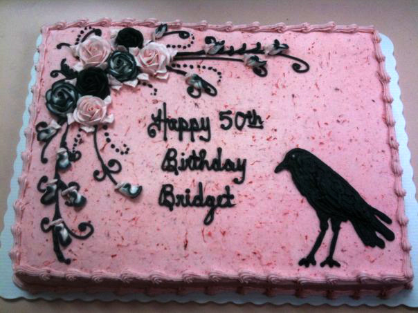 Old Crow with Pink & Black Roses