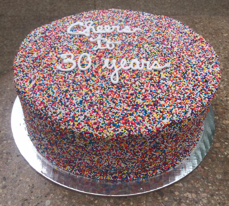 Non Pareils Covered Cake