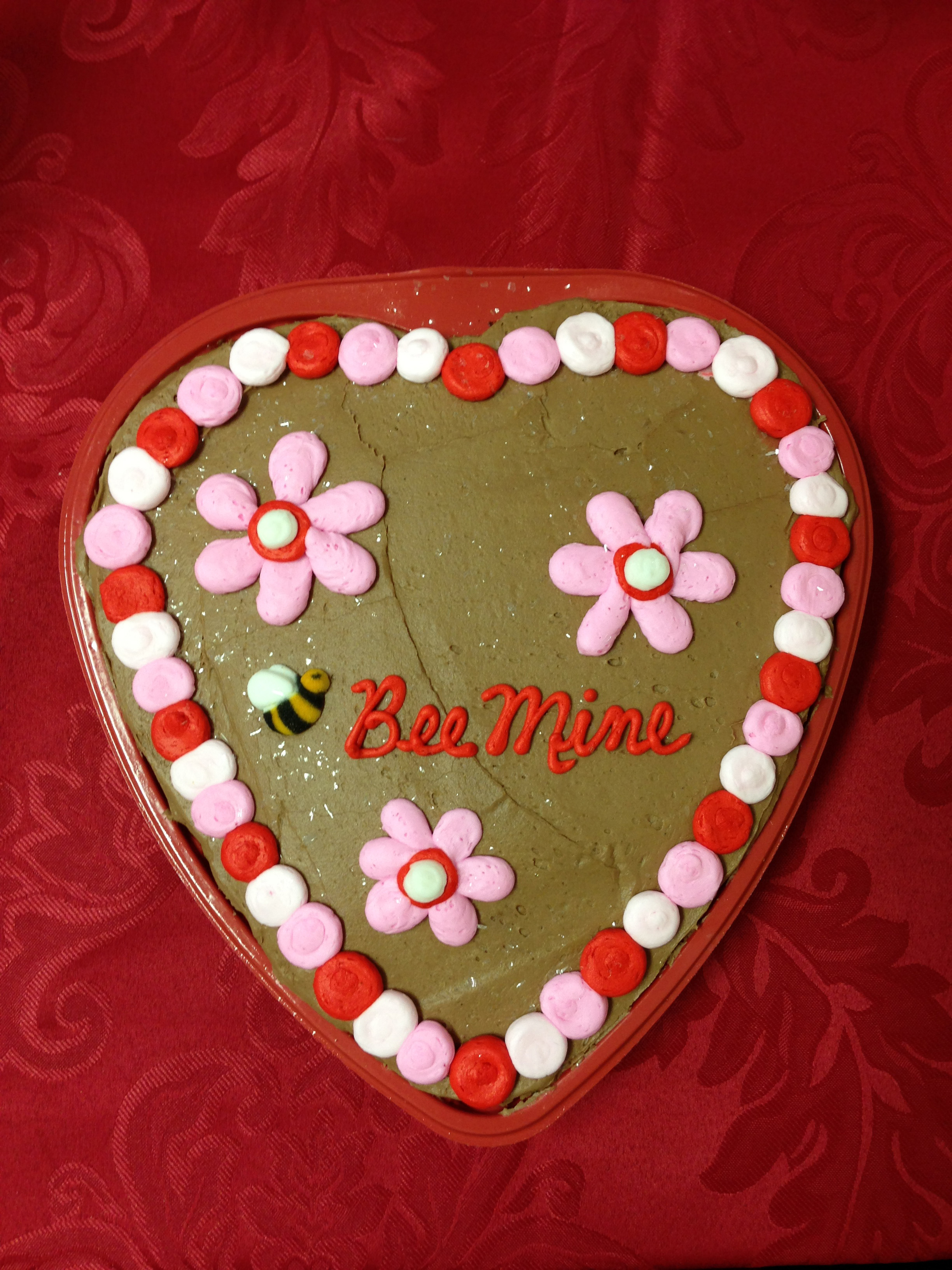 Bee Mine Heart Shaped Cake