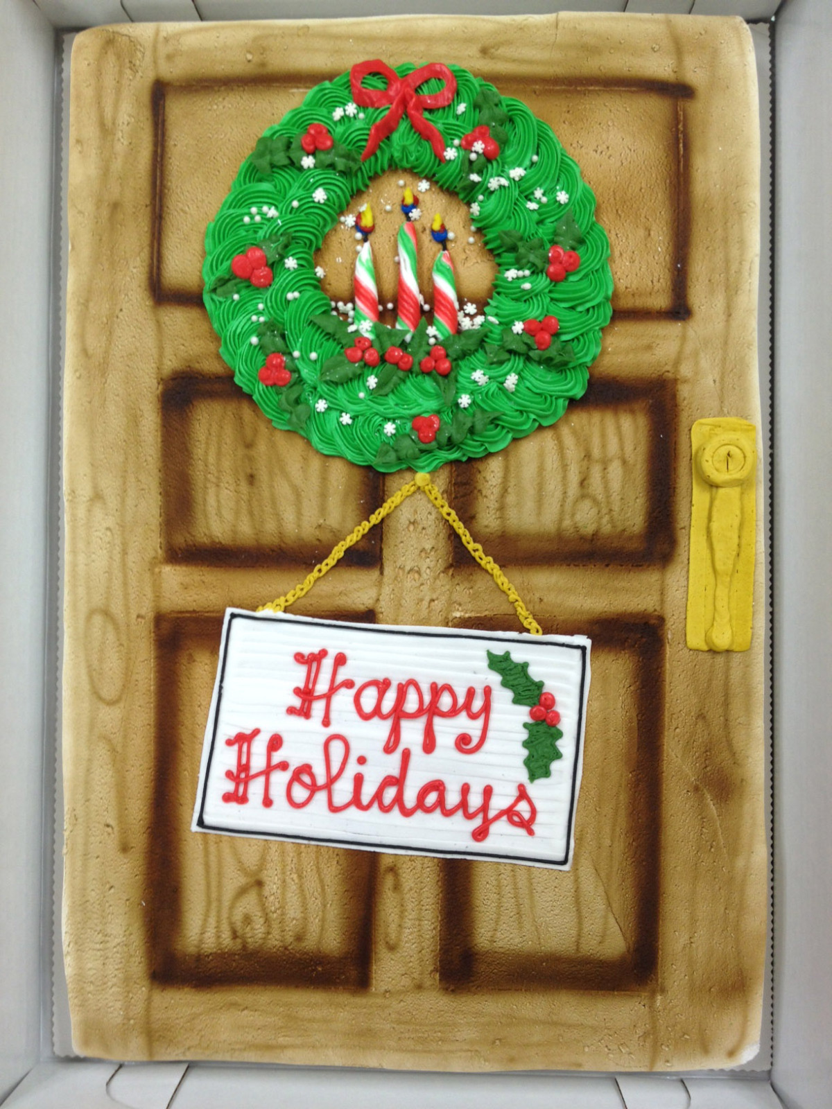 Door with Wreath - Happy Holidays