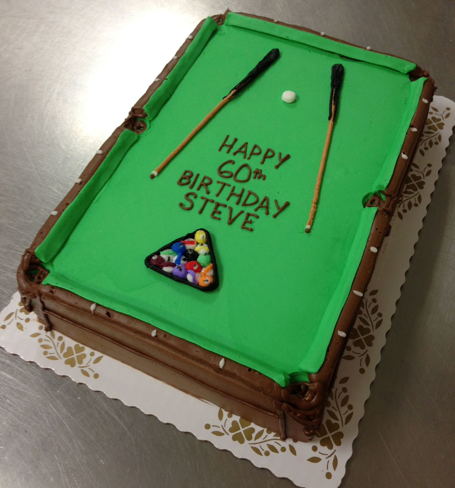 Pool Table Shaped Cake