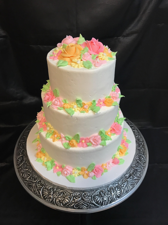 Garden Flowers Tiered Cake