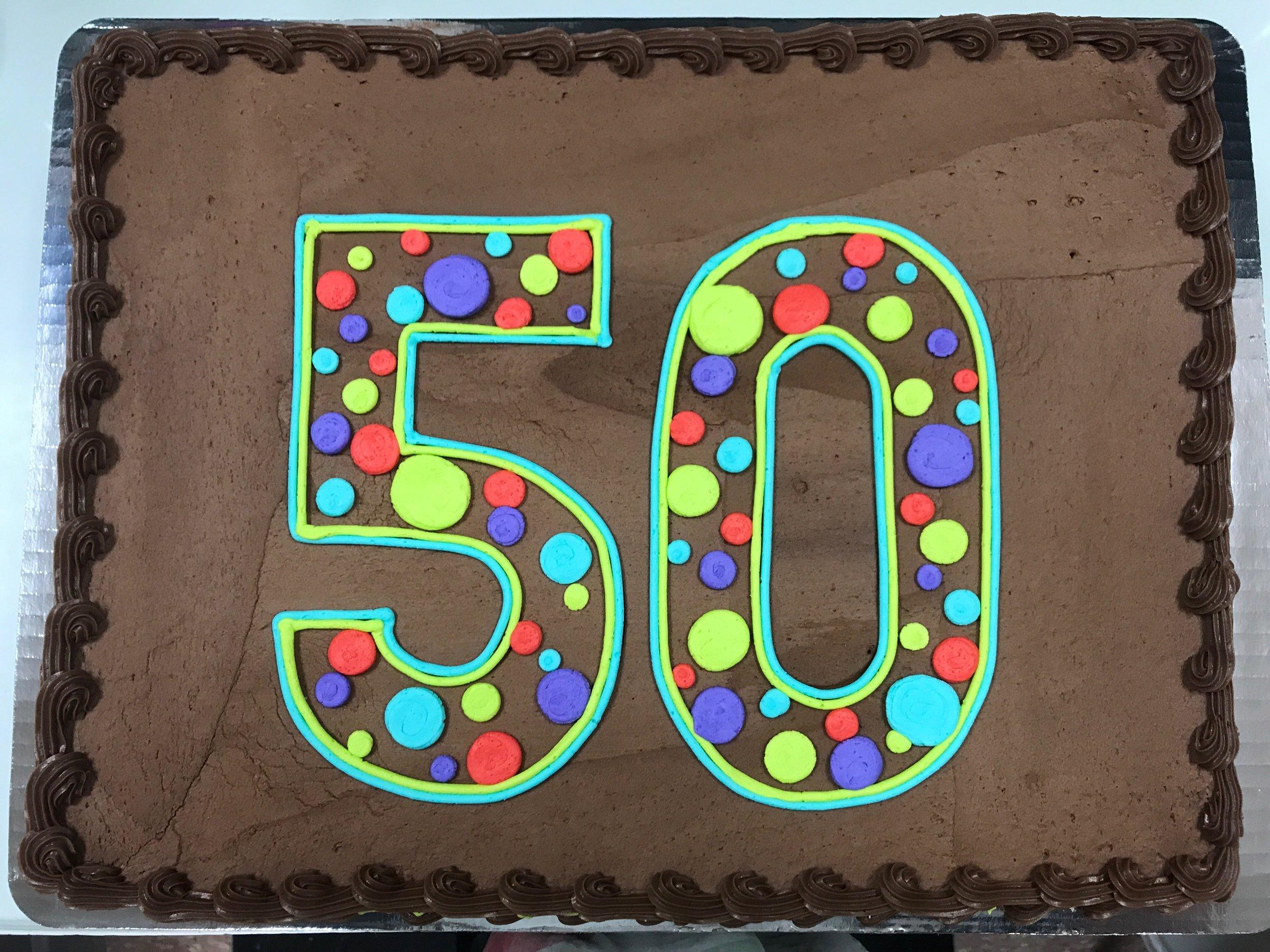 50 in polka dots