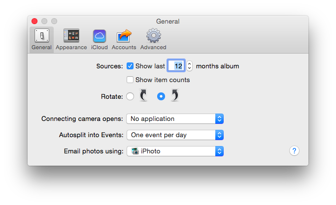 iPhoto's Preference Pane