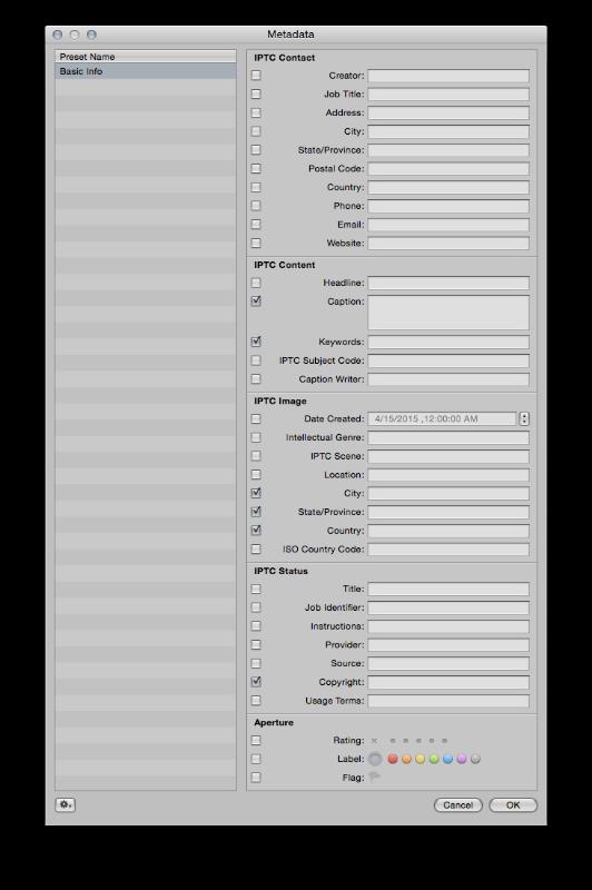 Aperture's Metadata Window. Hopefully Apple allows Photos to have full metadata editing.