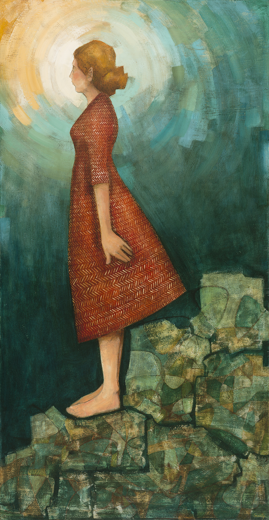 she stood with her burdens placed beneath her feet