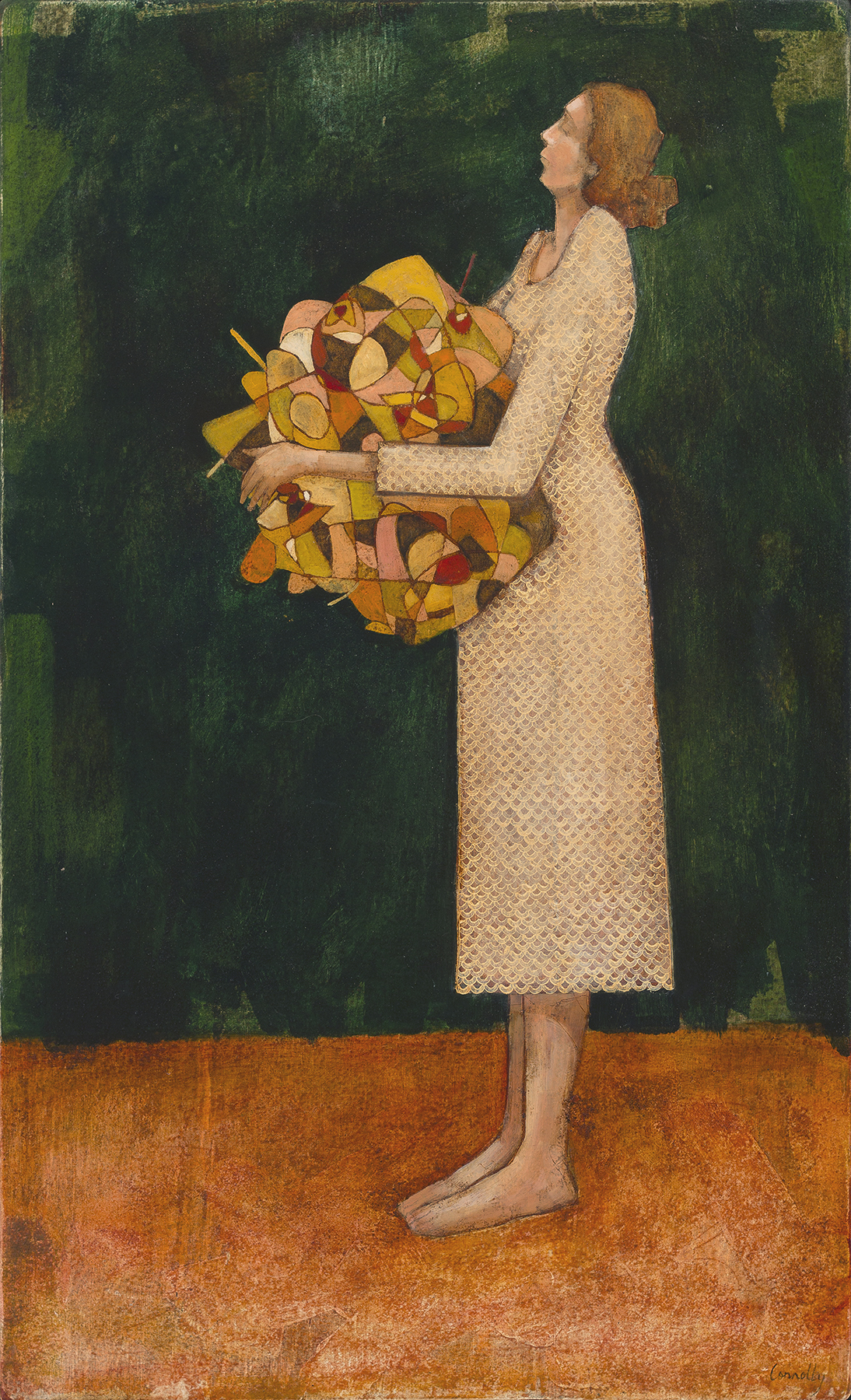 a woman holding a mystery