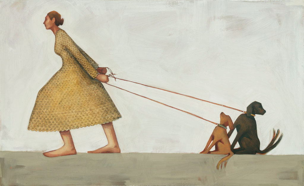 one stubborn woman and two stubborn dogs