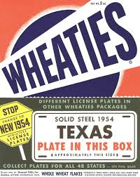 They didn't always tell you what plates were in which box so I played Wheaties lottery, cheeks bulging with unwanted cereal, hoping the next box would make my Knuck less conspicuous to the cops.
