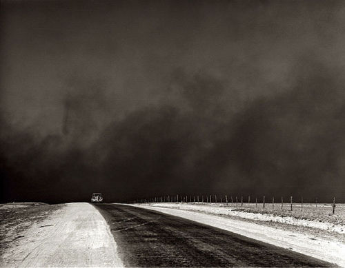 That's dust behind the vehicle. Hard to believe, the godawfulness of those storms...