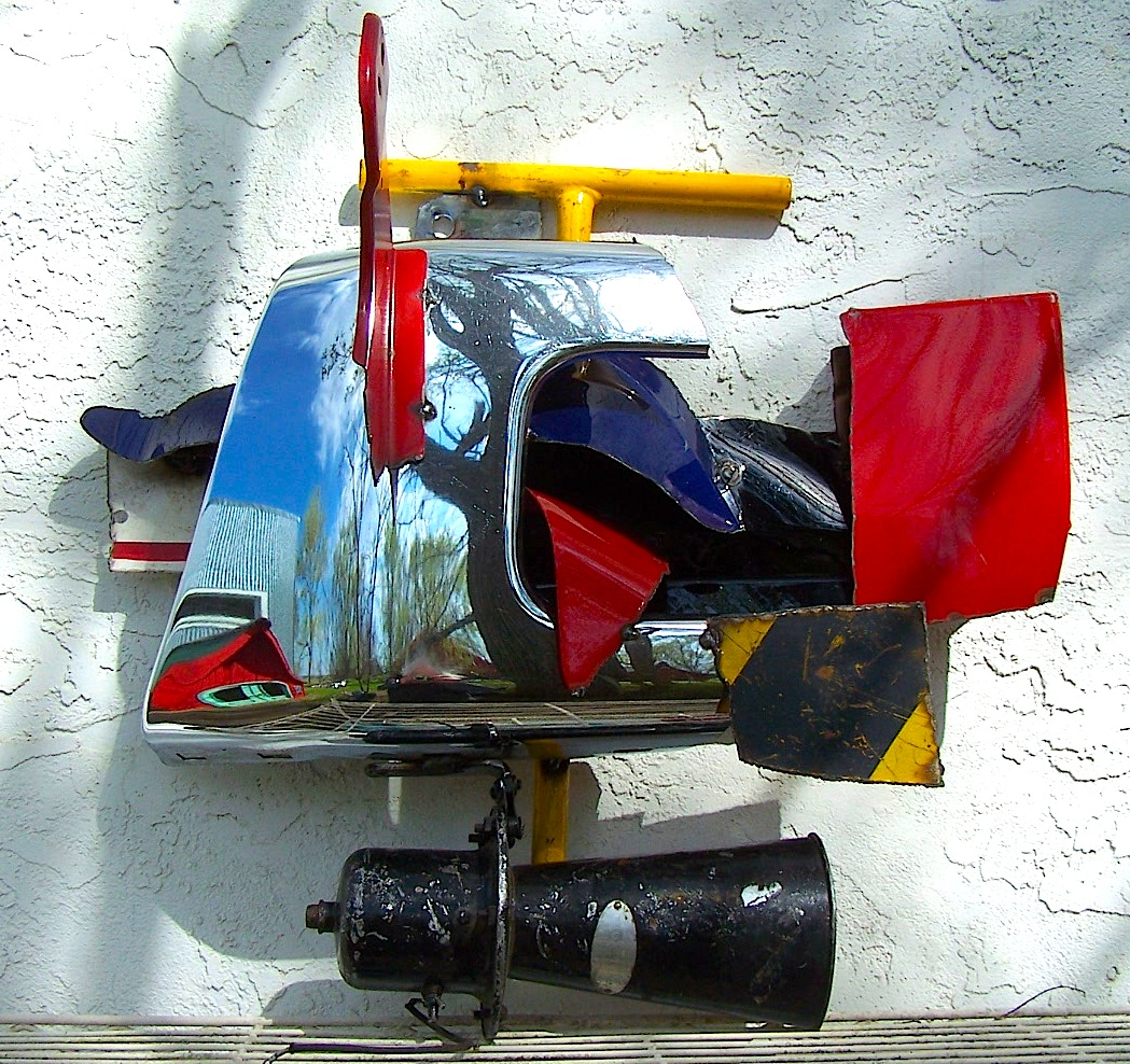 """GW wall piece titled """"Parade Route."""" Colorful, childlike, happy. Abstract Expressionist, with a little Dada thrown in."""